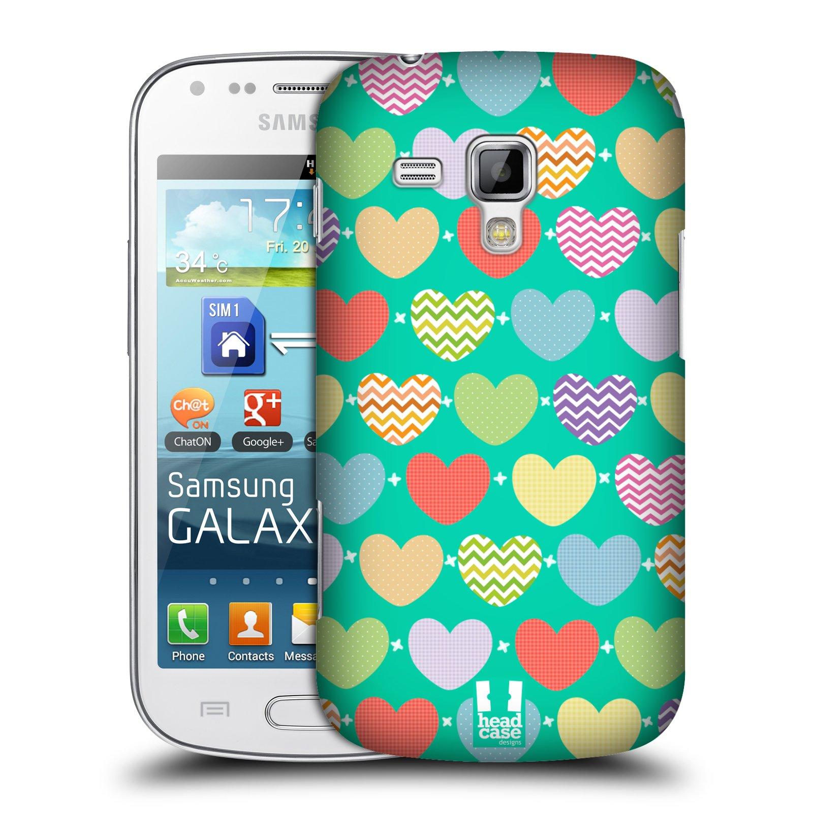 Plastové pouzdro na mobil Samsung Galaxy Trend Plus HEAD CASE SRDÍČKA NA ZELENÉ (Kryt či obal na mobilní telefon Samsung Galaxy Trend Plus GT-S7580)