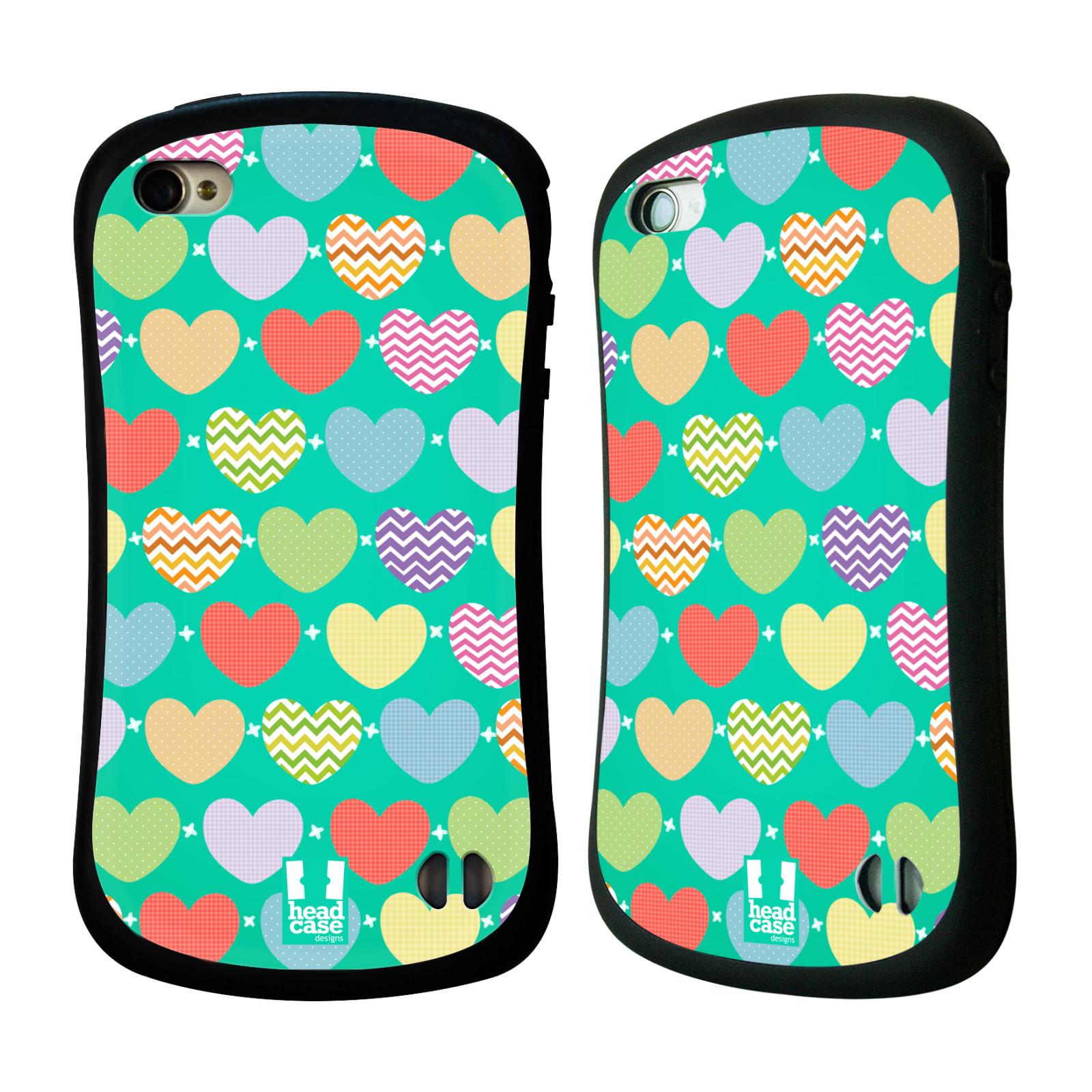 Nárazuvzdorné pouzdro na mobil Apple iPhone 4 a 4S HEAD CASE SRDÍČKA NA ZELENÉ (Odolný nárazuvzdorný silikonový kryt či obal na mobilní telefon Apple iPhone 4 a 4S)