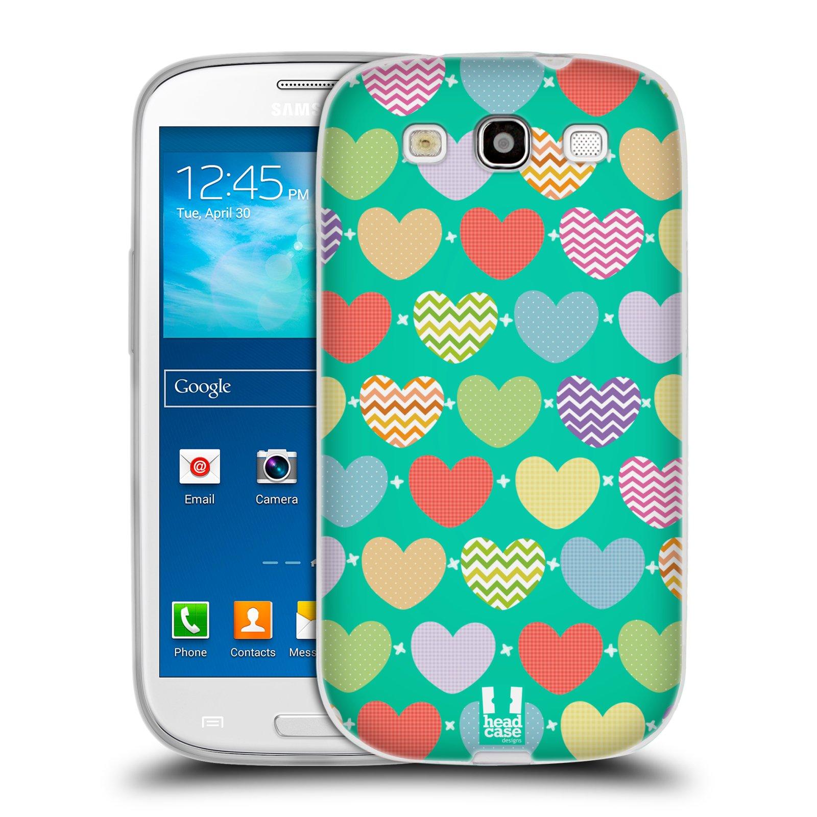 Silikonové pouzdro na mobil Samsung Galaxy S3 Neo HEAD CASE SRDÍČKA NA ZELENÉ (Silikonový kryt či obal na mobilní telefon Samsung Galaxy S3 Neo GT-i9301i)