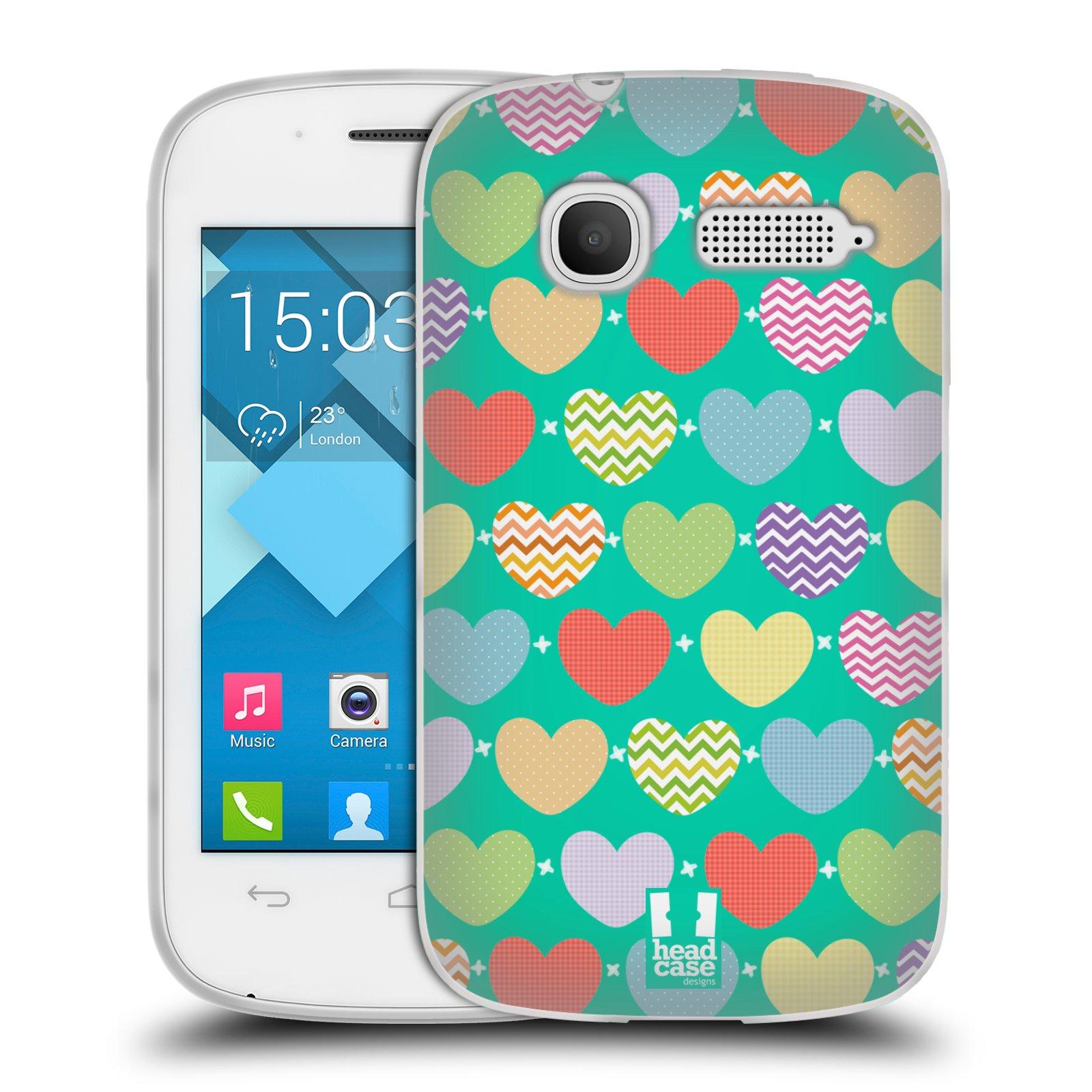 Silikonové pouzdro na mobil Alcatel One Touch Pop C1 HEAD CASE SRDÍČKA NA ZELENÉ (Silikonový kryt či obal na mobilní telefon Alcatel OT-4015D POP C1)