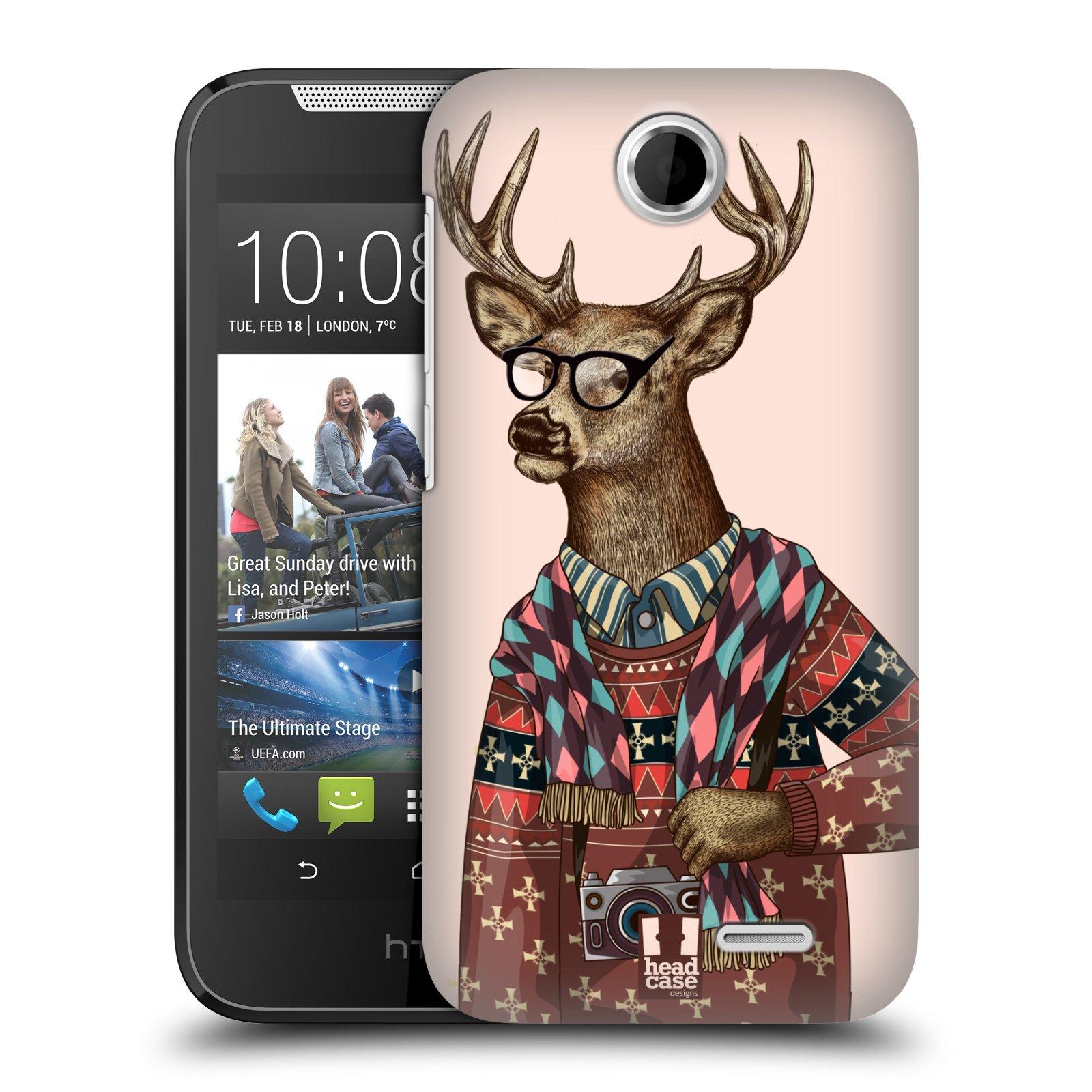 Plastové pouzdro na mobil HTC Desire 310 HEAD CASE HIPSTR SVETR JELEN