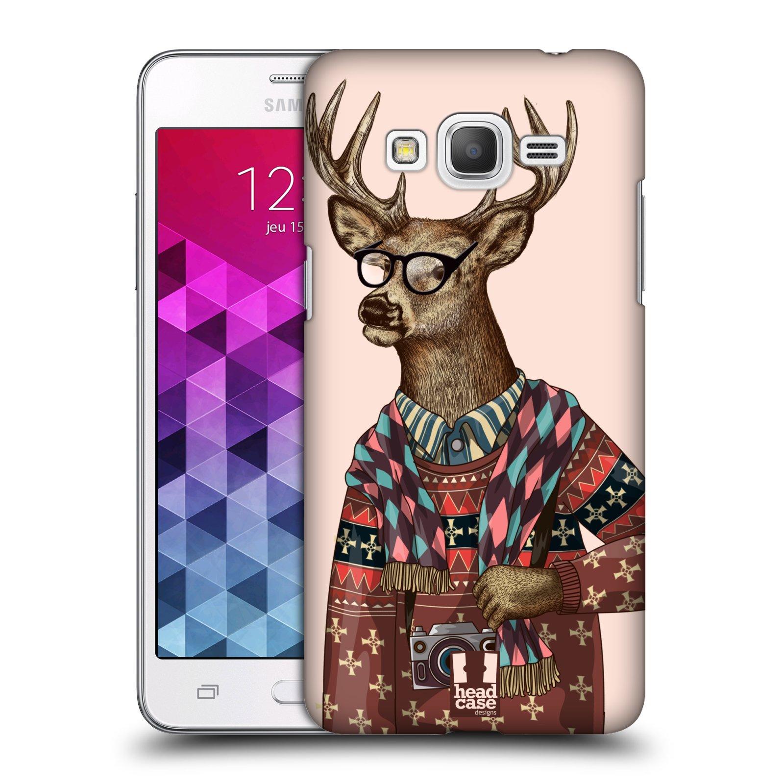 Plastové pouzdro na mobil Samsung Galaxy Grand Prime VE HEAD CASE HIPSTR SVETR JELEN