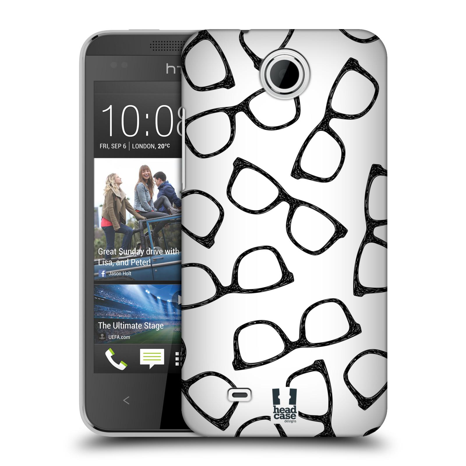 Plastové pouzdro na mobil HTC Desire 300 HEAD CASE HIPSTER BRÝLE (Kryt či obal na mobilní telefon HTC Desire 300)
