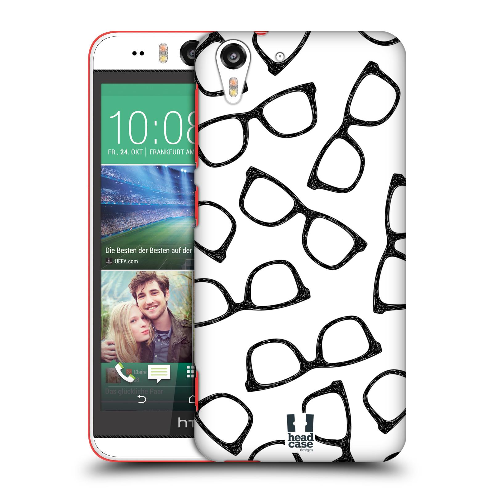 Plastové pouzdro na mobil HTC Desire EYE HEAD CASE HIPSTER BRÝLE (Kryt či obal na mobilní telefon HTC Desire EYE)