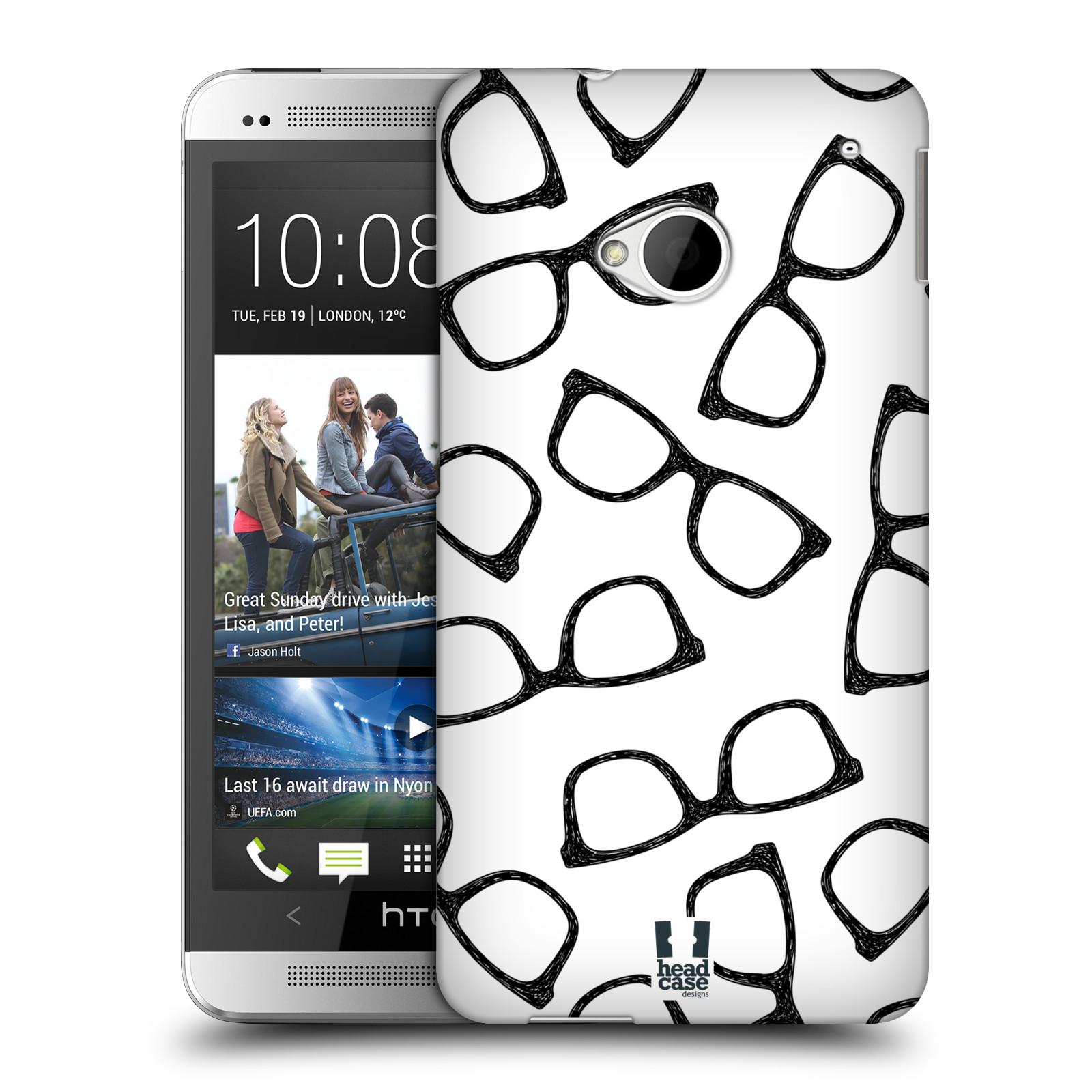 Plastové pouzdro na mobil HTC ONE M7 HEAD CASE HIPSTER BRÝLE (Kryt či obal na mobilní telefon HTC ONE M7)
