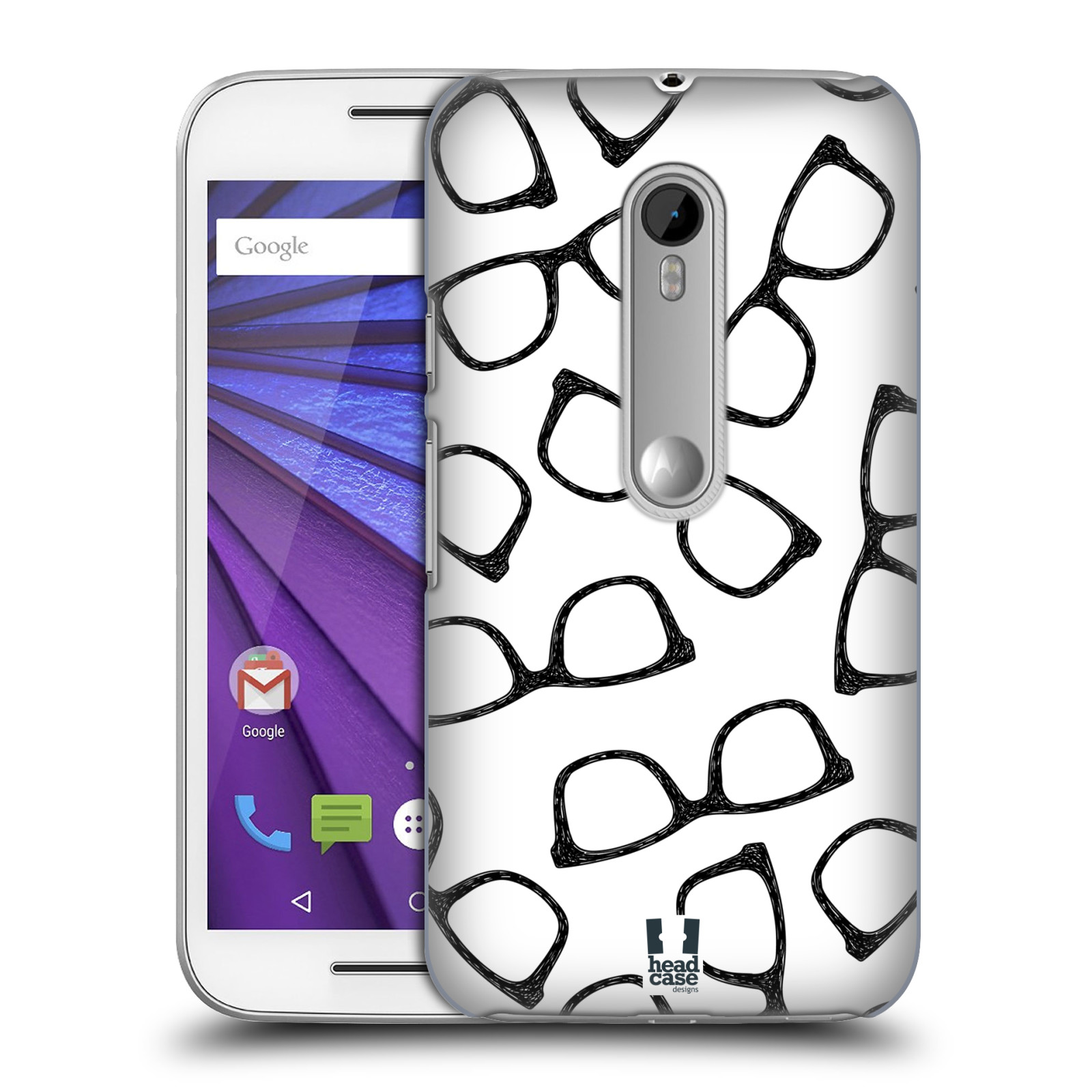 Plastové pouzdro na mobil Motorola Moto G 3RD GENERATION HEAD CASE HIPSTER BRÝLE (Kryt či obal na mobilní telefon Motorola Moto G 3. Generace)