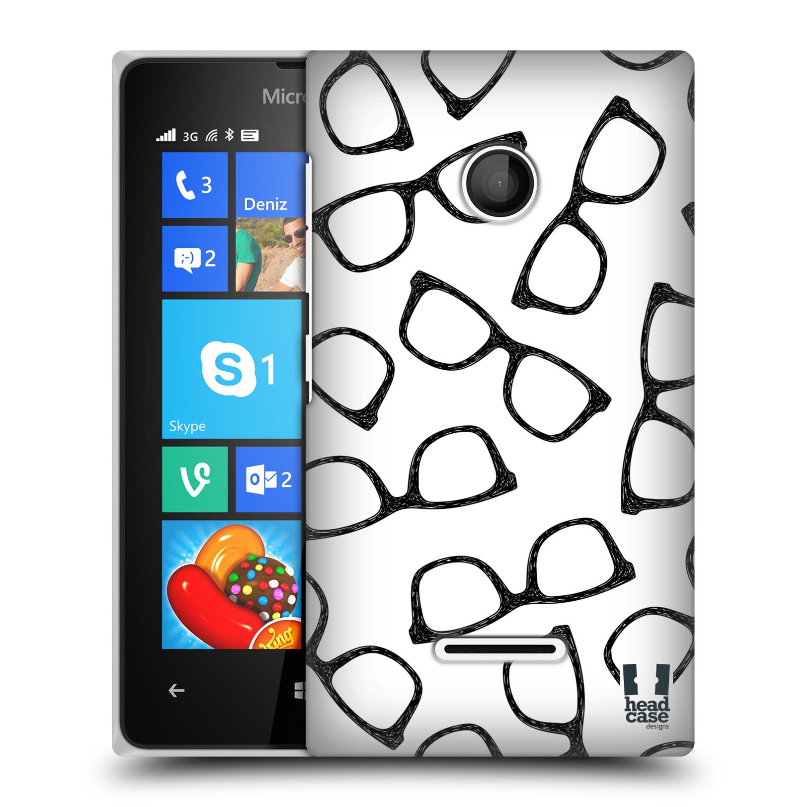 Plastové pouzdro na mobil Microsoft Lumia 435 HEAD CASE HIPSTER BRÝLE (Kryt či obal na mobilní telefon Microsoft Lumia 435)