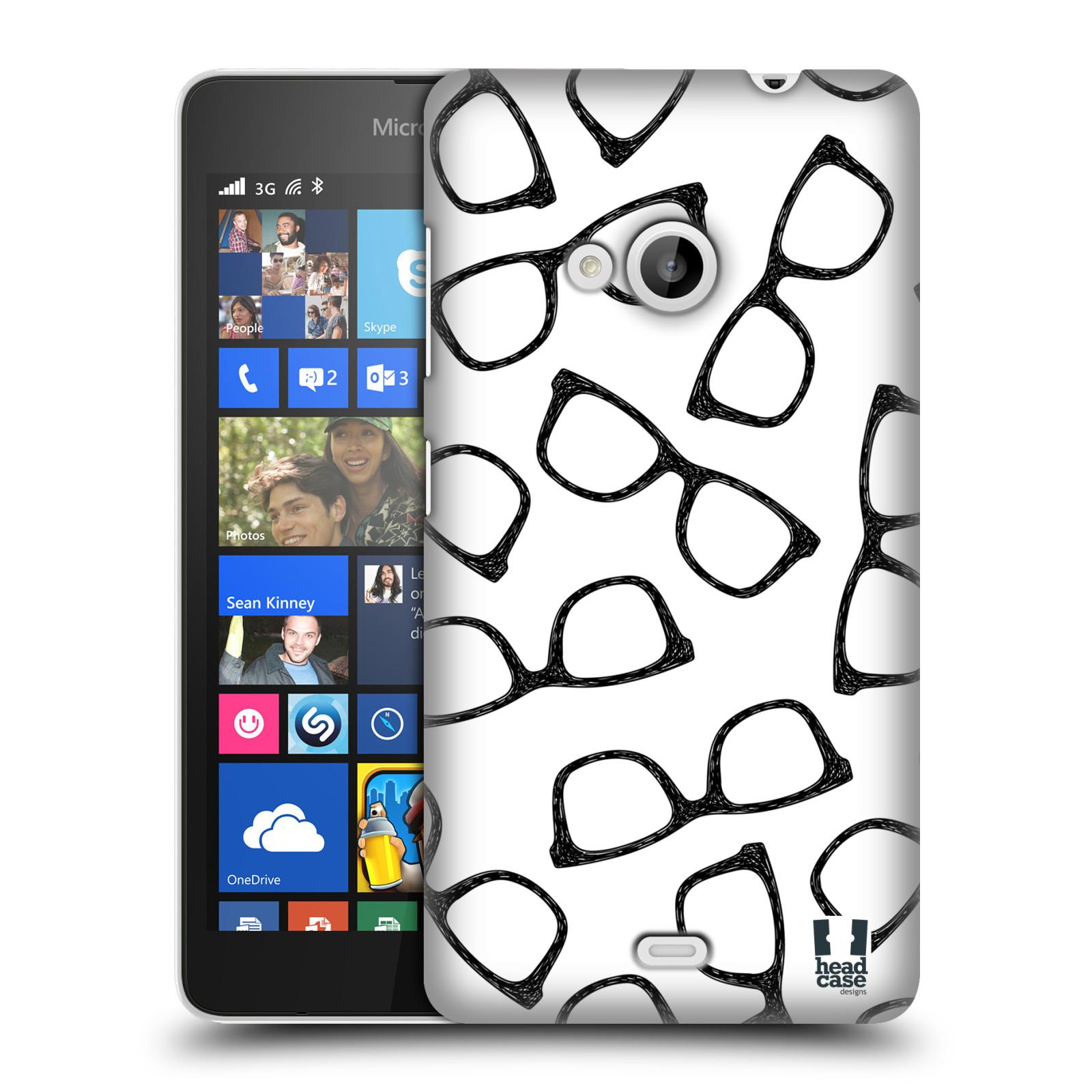 Plastové pouzdro na mobil Microsoft Lumia 535 HEAD CASE HIPSTER BRÝLE (Kryt či obal na mobilní telefon Microsoft Lumia 535)