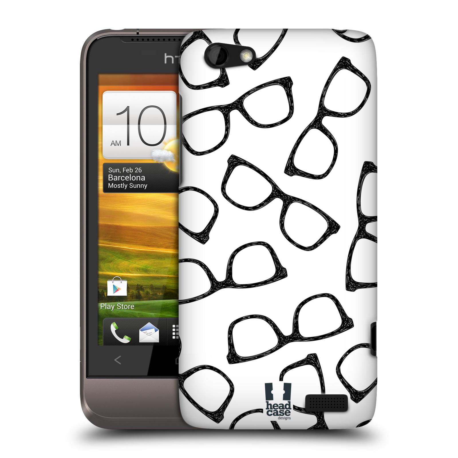 Plastové pouzdro na mobil HTC ONE V HEAD CASE HIPSTER BRÝLE (Kryt či obal na mobilní telefon HTC ONE V)