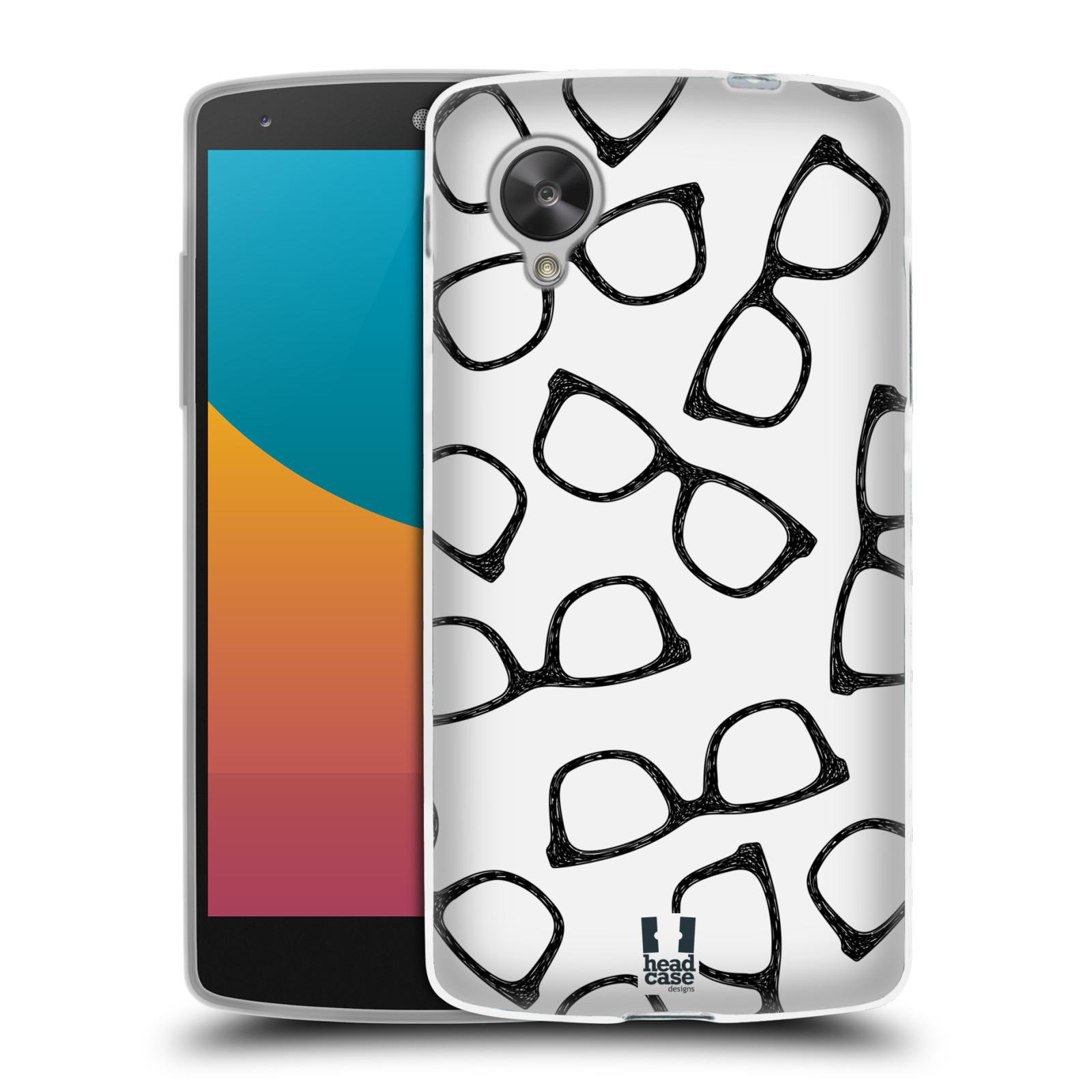 Silikonové pouzdro na mobil LG Nexus 5 HEAD CASE HIPSTER BRÝLE (Silikonový kryt či obal na mobilní telefon LG Google Nexus 5 D821)
