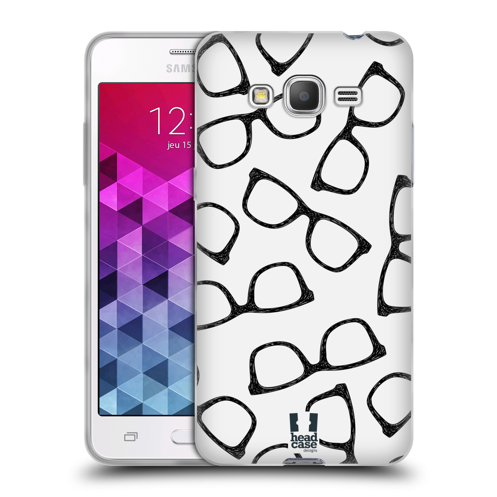 Silikonové pouzdro na mobil Samsung Galaxy Grand Prime VE HEAD CASE HIPSTER BRÝLE (Silikonový kryt či obal na mobilní telefon Samsung Galaxy Grand Prime VE SM-G531F)