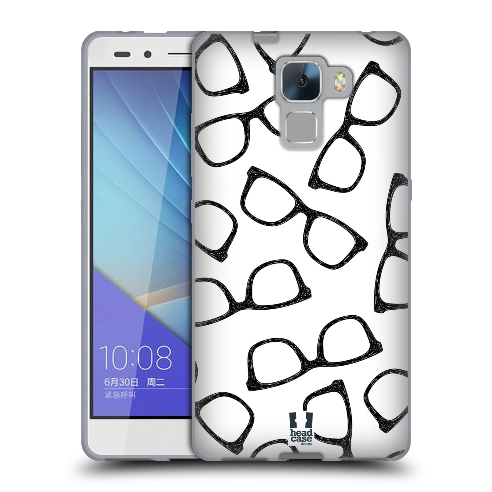 Silikonové pouzdro na mobil Honor 7 HEAD CASE HIPSTER BRÝLE (Silikonový kryt či obal na mobilní telefon Huawei Honor 7)