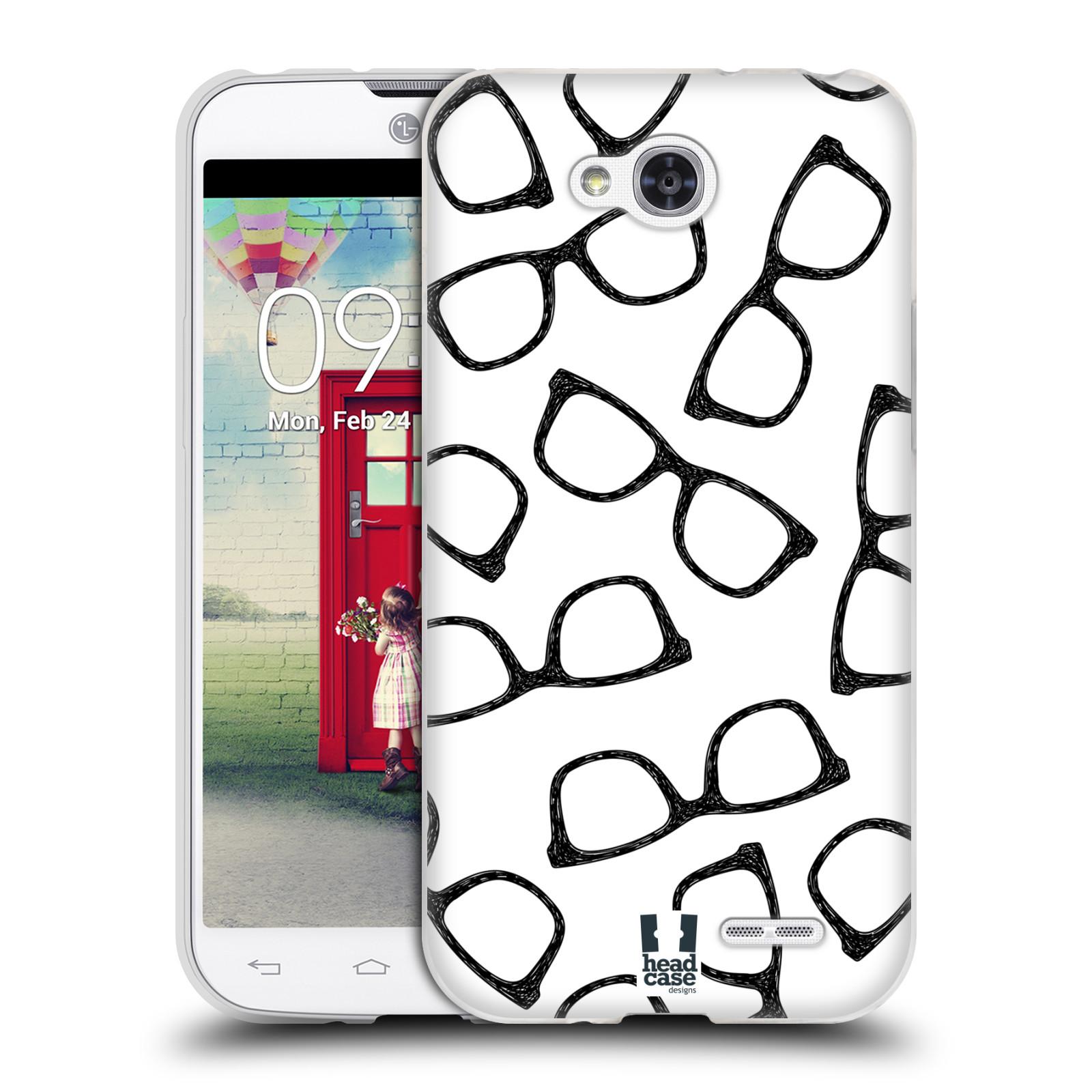 Silikonové pouzdro na mobil LG L90 HEAD CASE HIPSTER BRÝLE (Silikonový kryt či obal na mobilní telefon LG L90 D405n)