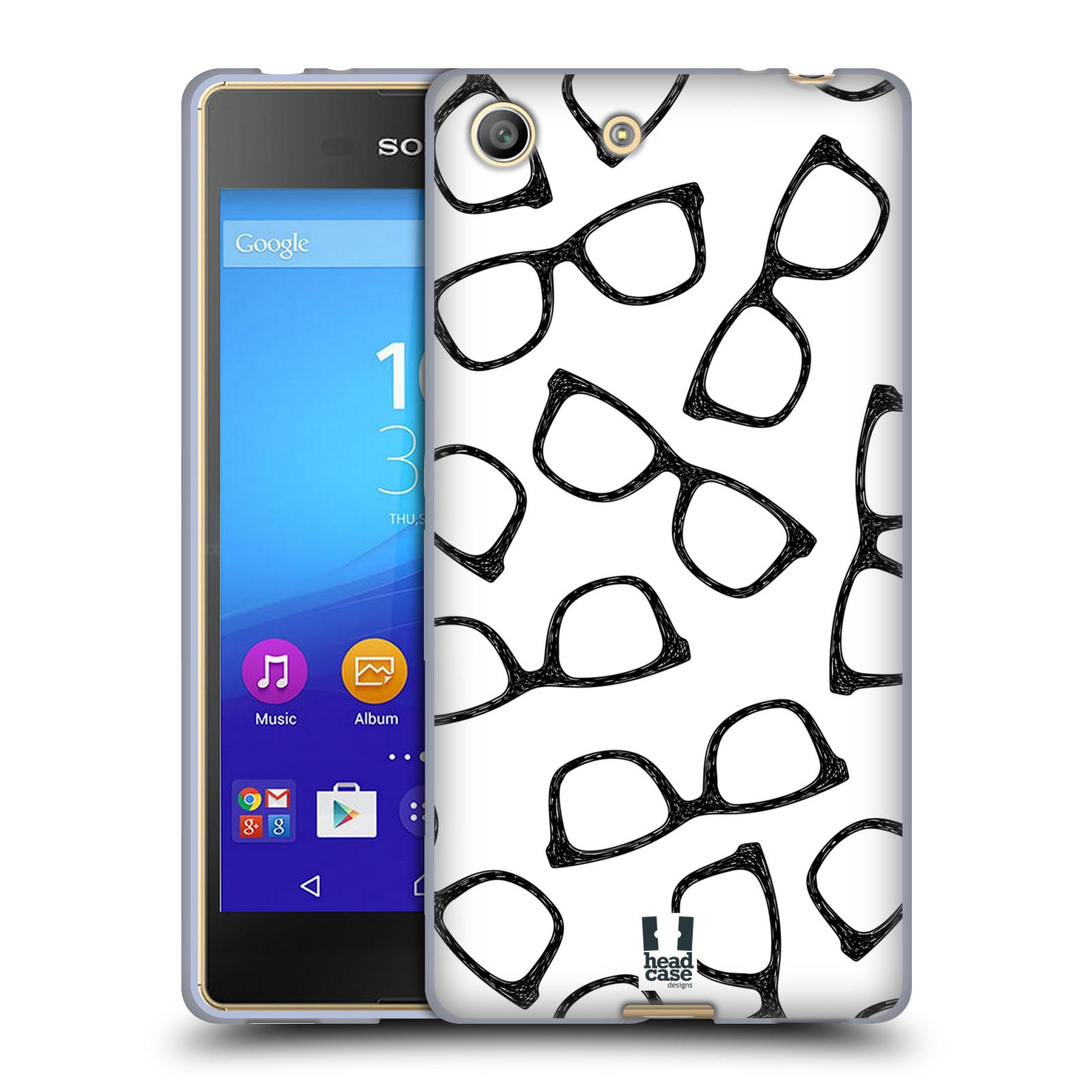 Silikonové pouzdro na mobil Sony Xperia M5 HEAD CASE HIPSTER BRÝLE (Silikonový kryt či obal na mobilní telefon Sony Xperia M5 Dual SIM / Aqua)