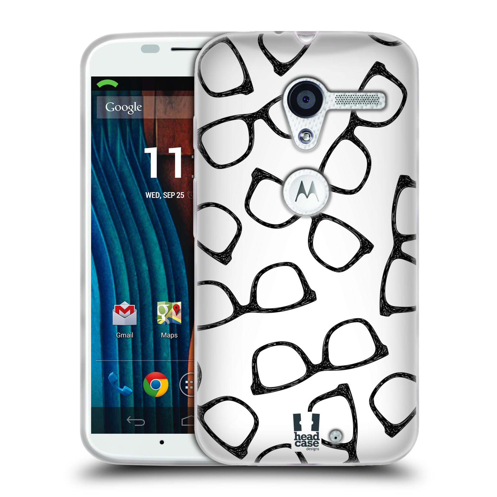 Silikonové pouzdro na mobil Motorola Moto X HEAD CASE HIPSTER BRÝLE (Silikonový kryt či obal na mobilní telefon Motorola Moto X)
