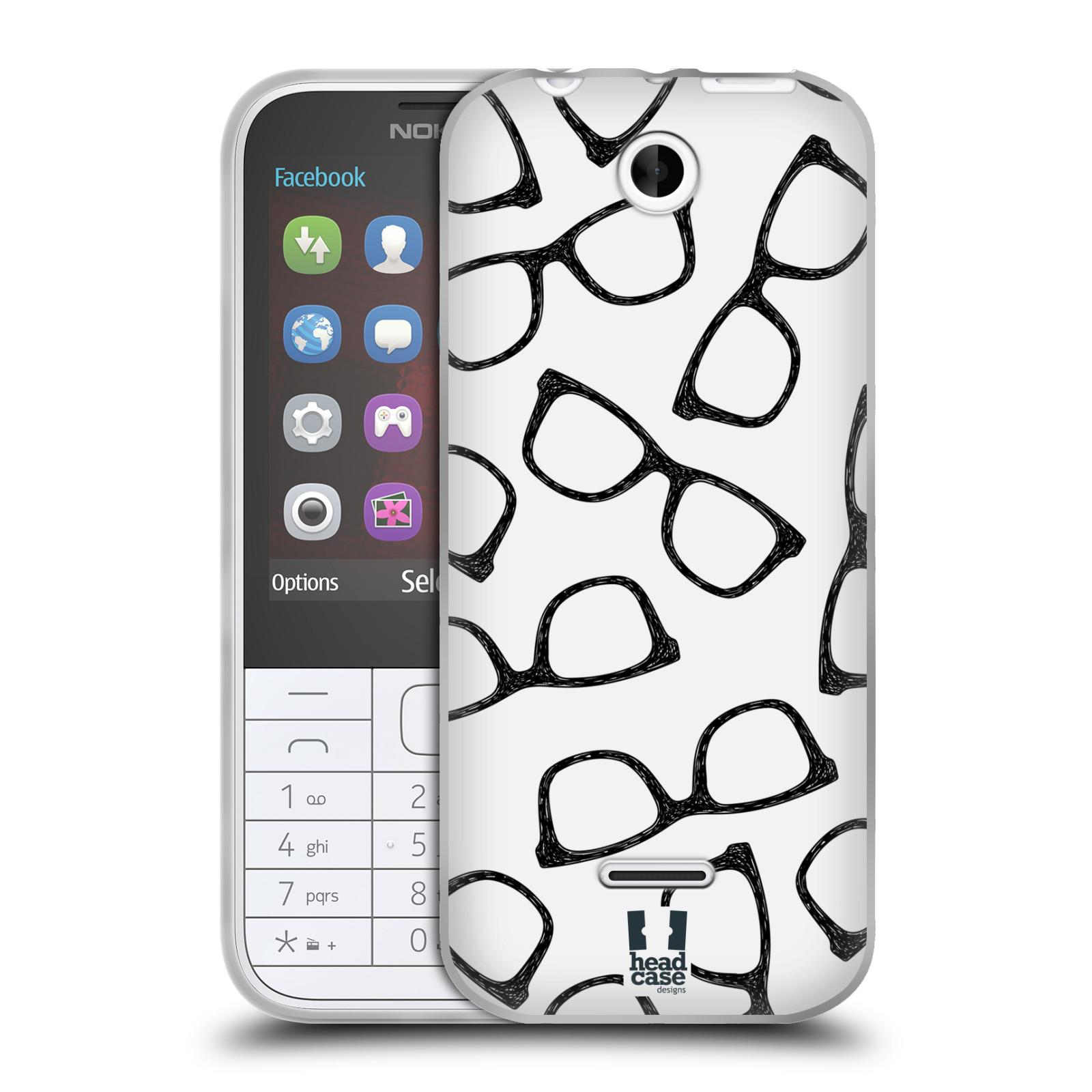 Silikonové pouzdro na mobil Nokia 225 HEAD CASE HIPSTER BRÝLE (Silikonový kryt či obal na mobilní telefon Nokia 225)