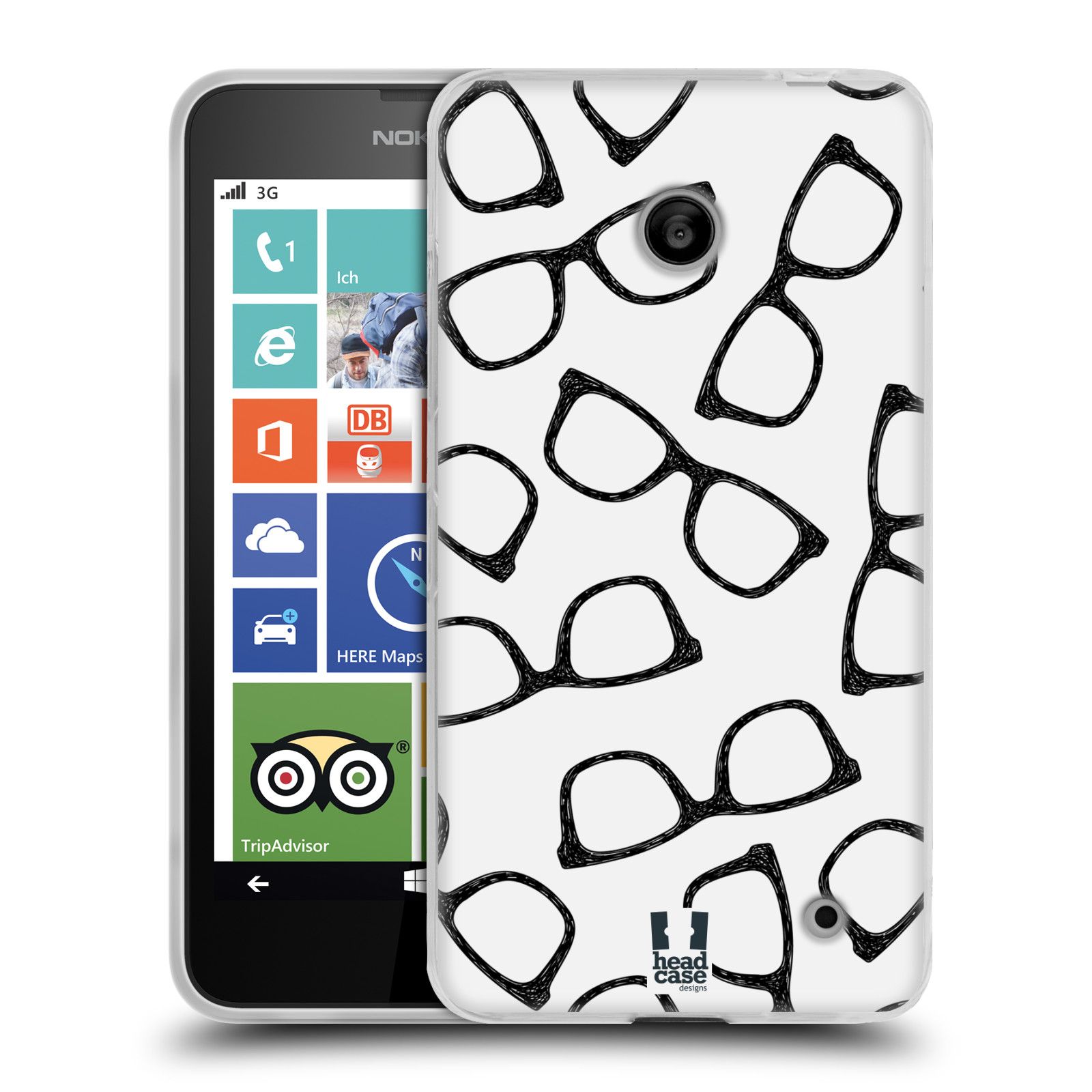 Silikonové pouzdro na mobil Nokia Lumia 630 HEAD CASE HIPSTER BRÝLE (Silikonový kryt či obal na mobilní telefon Nokia Lumia 630 a Nokia Lumia 630 Dual SIM)