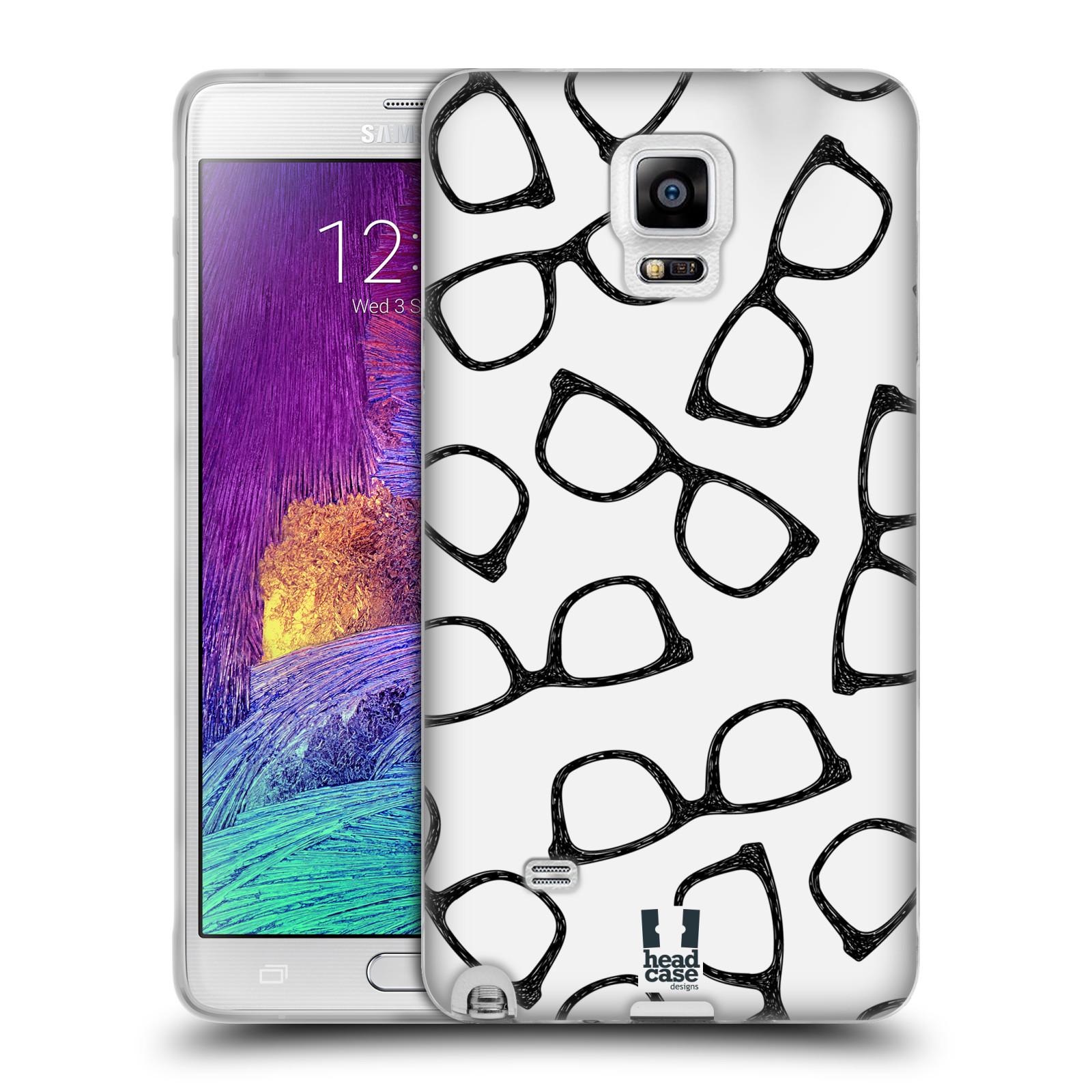 Silikonové pouzdro na mobil Samsung Galaxy Note 4 HEAD CASE HIPSTER BRÝLE (Silikonový kryt či obal na mobilní telefon Samsung Galaxy Note 4 SM-N910F)