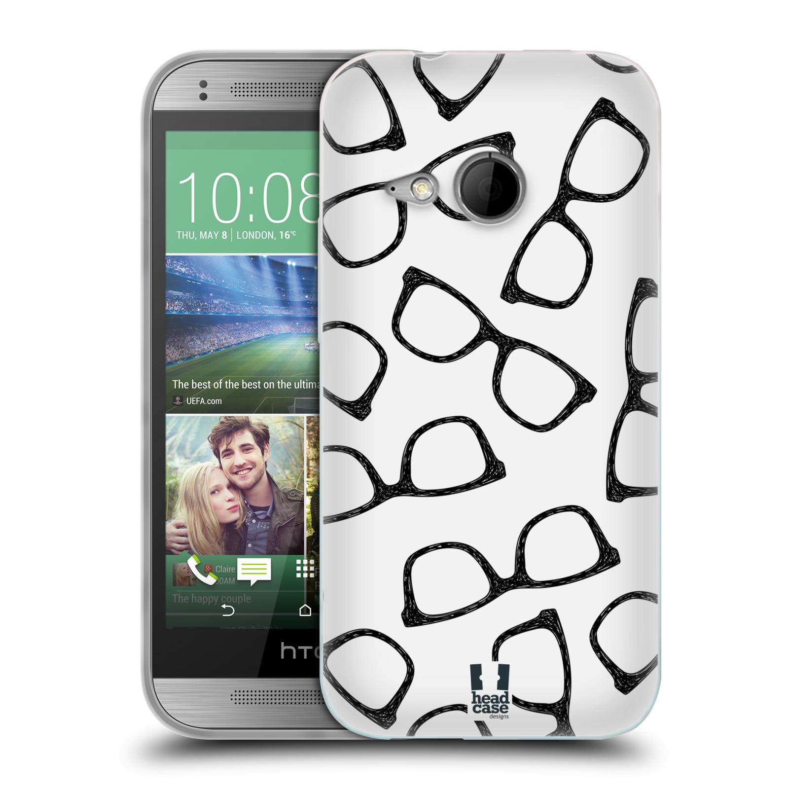 Silikonové pouzdro na mobil HTC ONE Mini 2 HEAD CASE HIPSTER BRÝLE (Silikonový kryt či obal na mobilní telefon HTC ONE Mini 2)