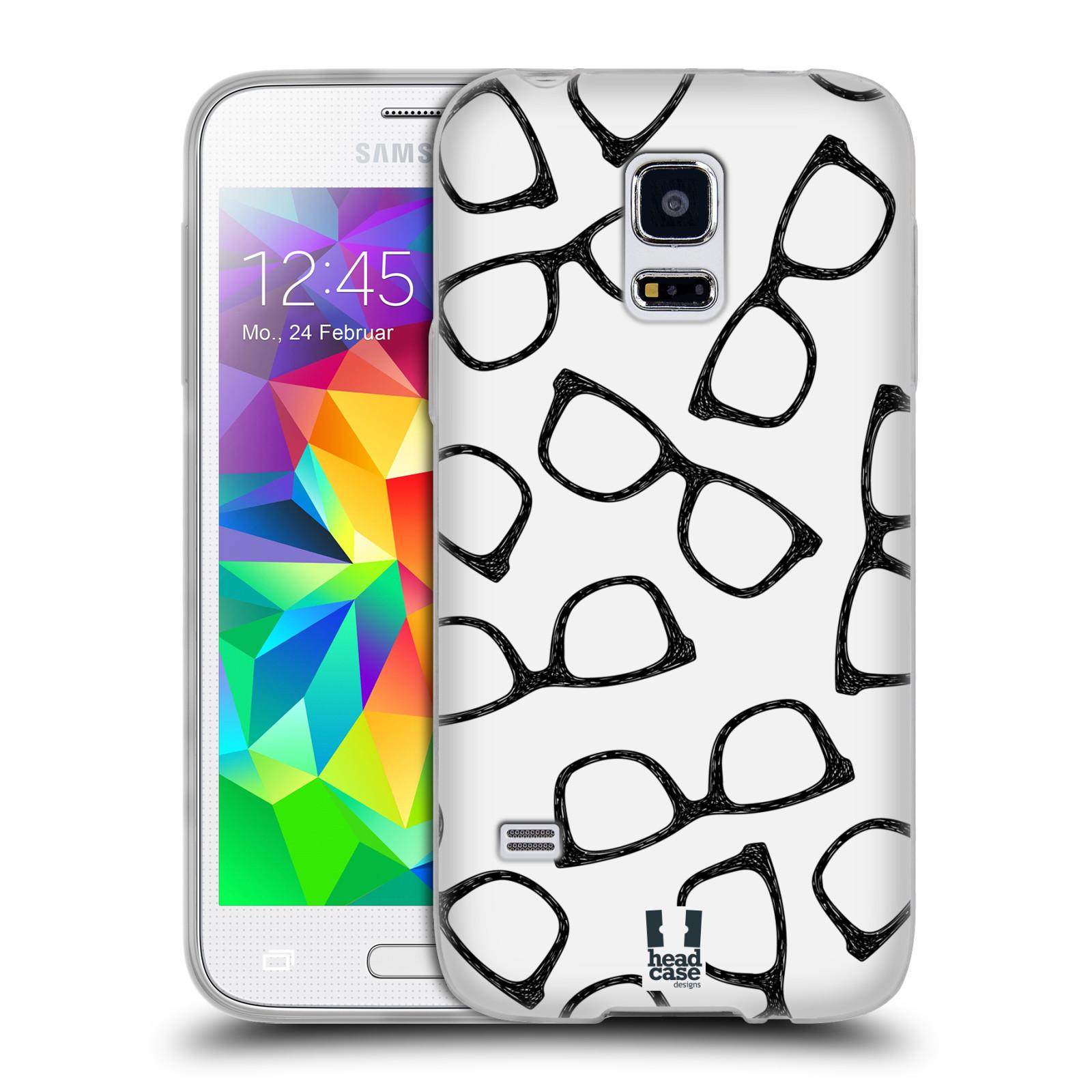 Silikonové pouzdro na mobil Samsung Galaxy S5 Mini HEAD CASE HIPSTER BRÝLE (Silikonový kryt či obal na mobilní telefon Samsung Galaxy S5 Mini SM-G800F)