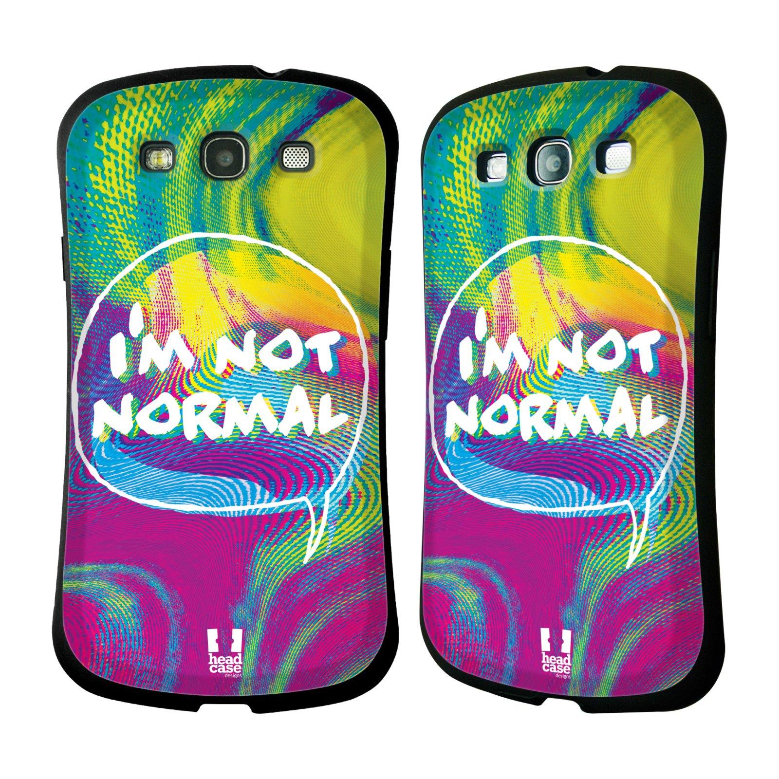 Nárazuvzdorné pouzdro na mobil Samsung Galaxy S III HEAD CASE HOLOGRAF I'M NOT NORMAL (Odolný nárazuvzdorný silikonový kryt či obal na mobilní telefon Samsung Galaxy S III GT-i9300)