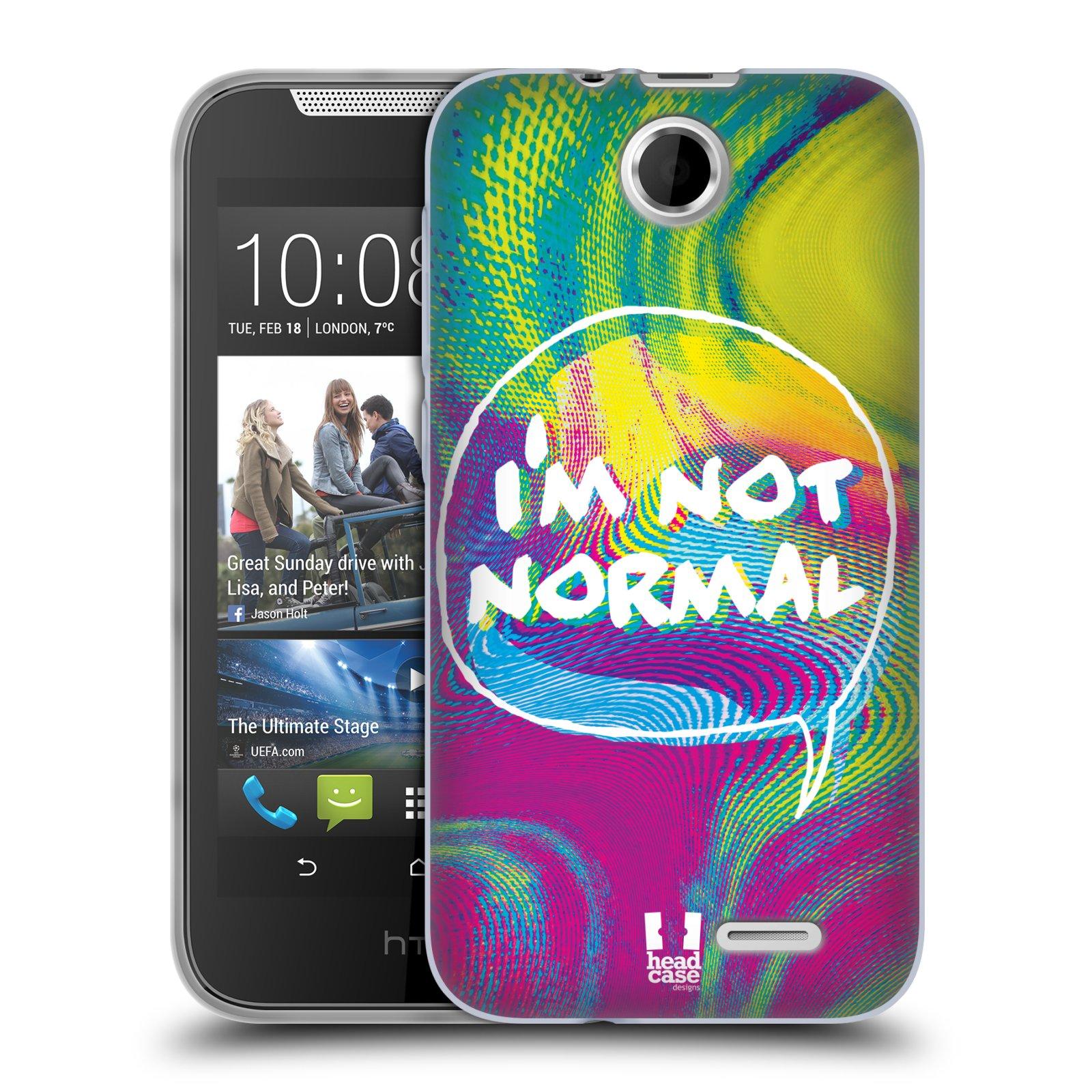 Silikonové pouzdro na mobil HTC Desire 310 HEAD CASE HOLOGRAF I'M NOT NORMAL (Silikonový kryt či obal na mobilní telefon HTC Desire 310)