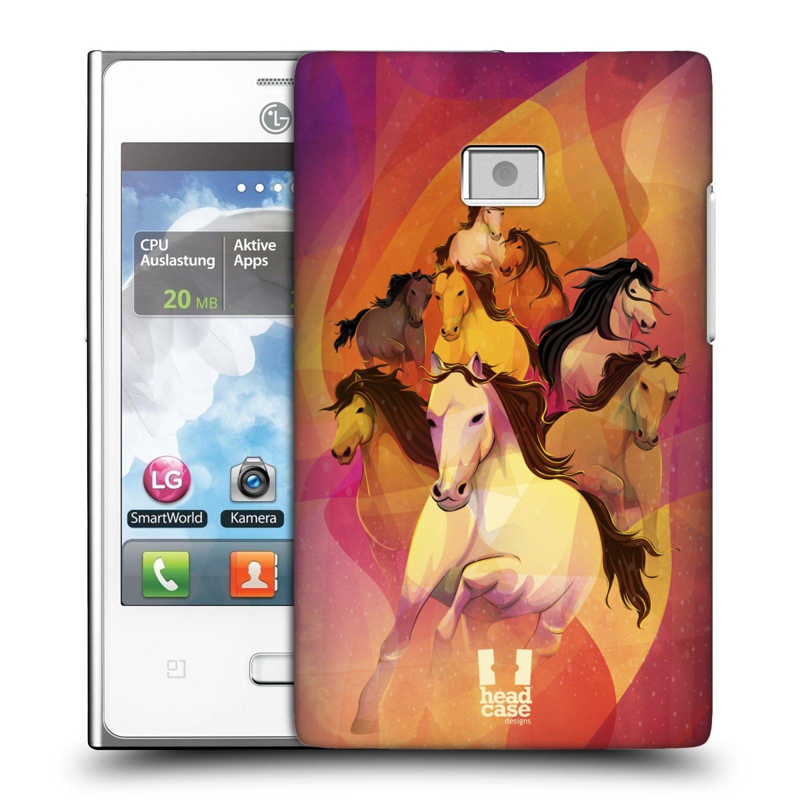 Plastové pouzdro na mobil LG Optimus L3 HEAD CASE OSM KONÍKŮ (Kryt či obal na mobilní telefon LG Optimus L3 E400)