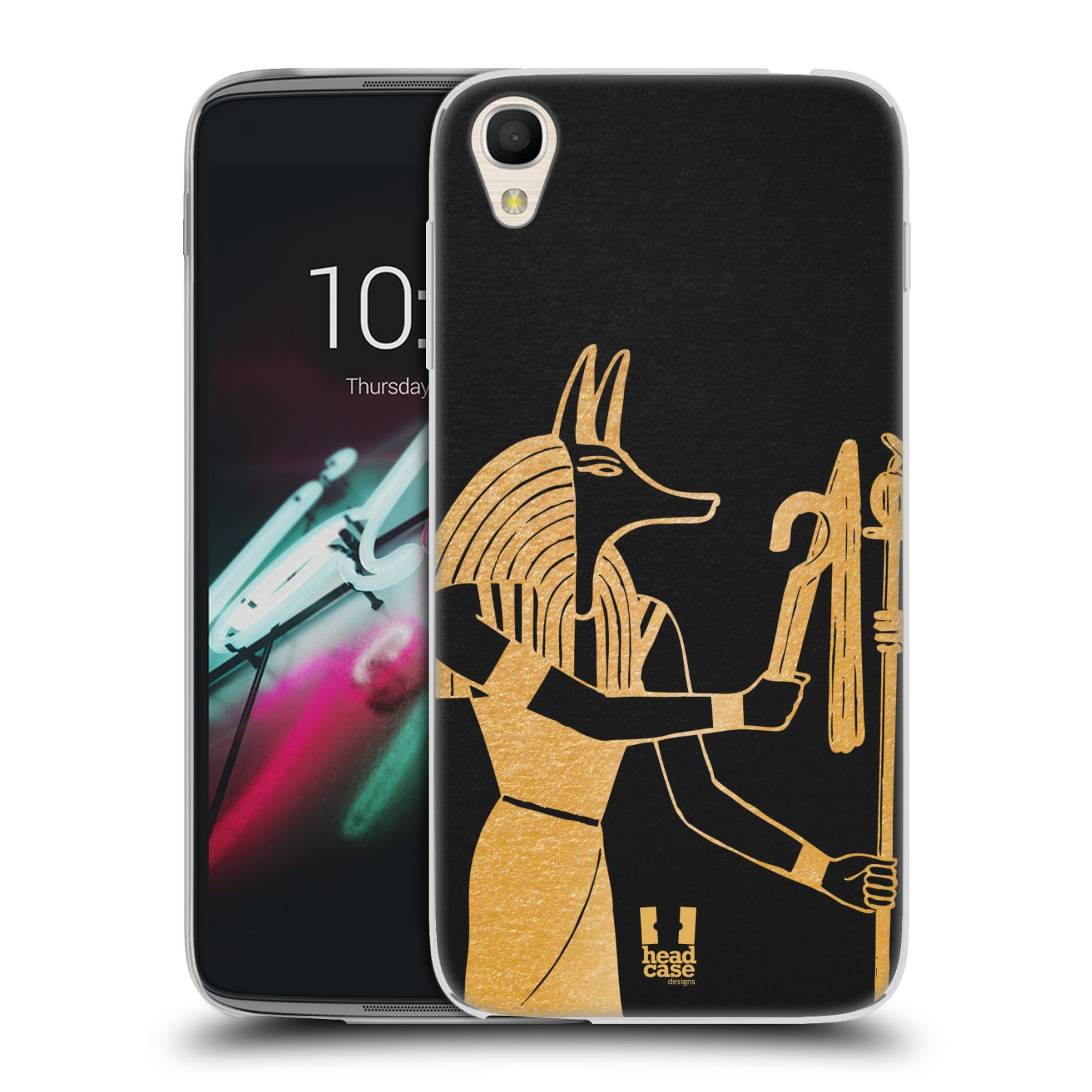 """Silikonové pouzdro na mobil Alcatel One Touch 6039Y Idol 3 HEAD CASE EGYPT ANUBIS (Silikonový kryt či obal na mobilní telefon Alcatel One Touch Idol 3 OT-6039Y s 4,7"""" displejem)"""