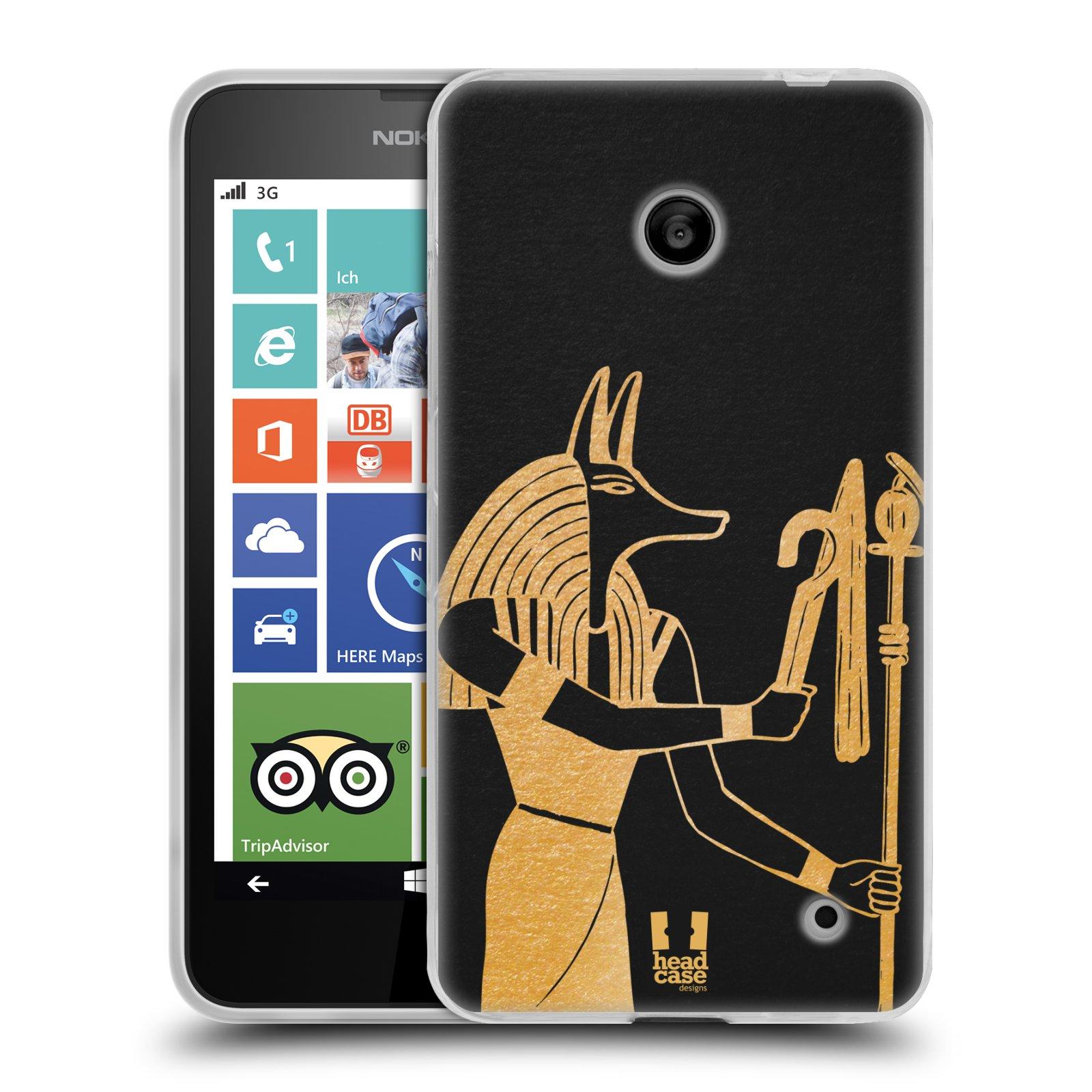 Silikonové pouzdro na mobil Nokia Lumia 630 HEAD CASE EGYPT ANUBIS (Silikonový kryt či obal na mobilní telefon Nokia Lumia 630 a Nokia Lumia 630 Dual SIM)