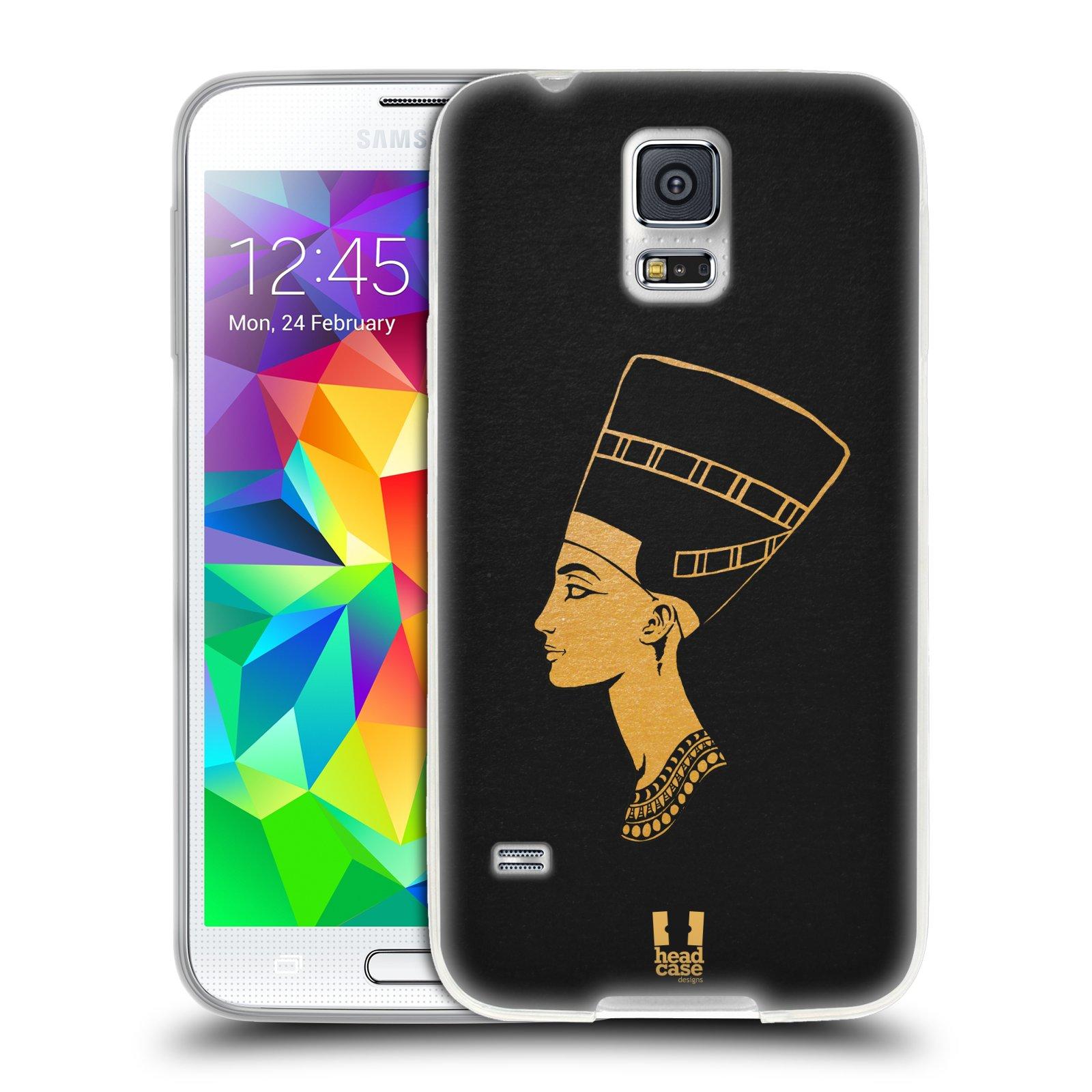 Silikonové pouzdro na mobil Samsung Galaxy S5 HEAD CASE EGYPT NEFERTITI (Silikonový kryt či obal na mobilní telefon Samsung Galaxy S5 SM-G900F)