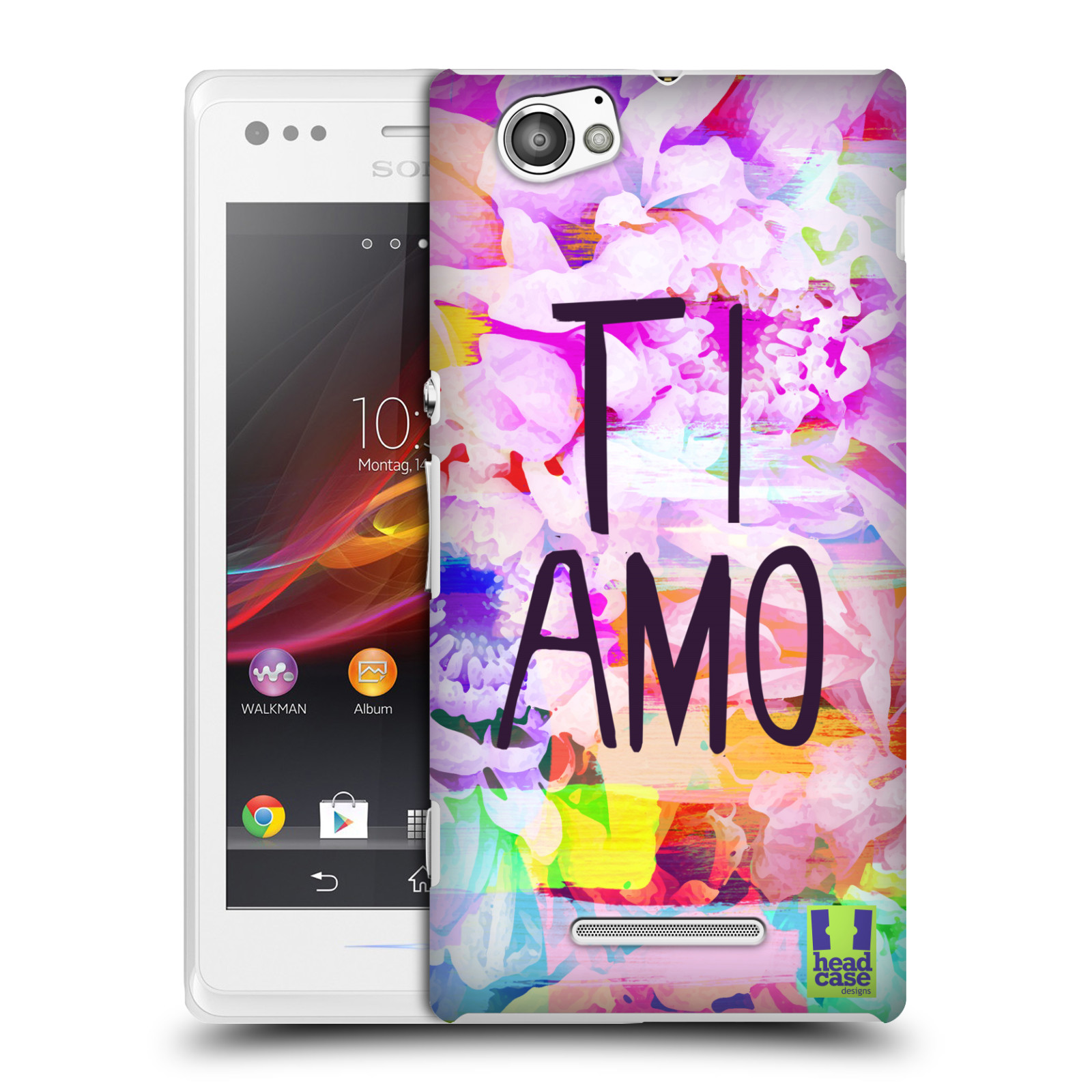 Plastové pouzdro na mobil Sony Xperia M C1905 HEAD CASE Květy Ti Amo (Plastový kryt či obal na mobilní telefon Sony Xperia M )