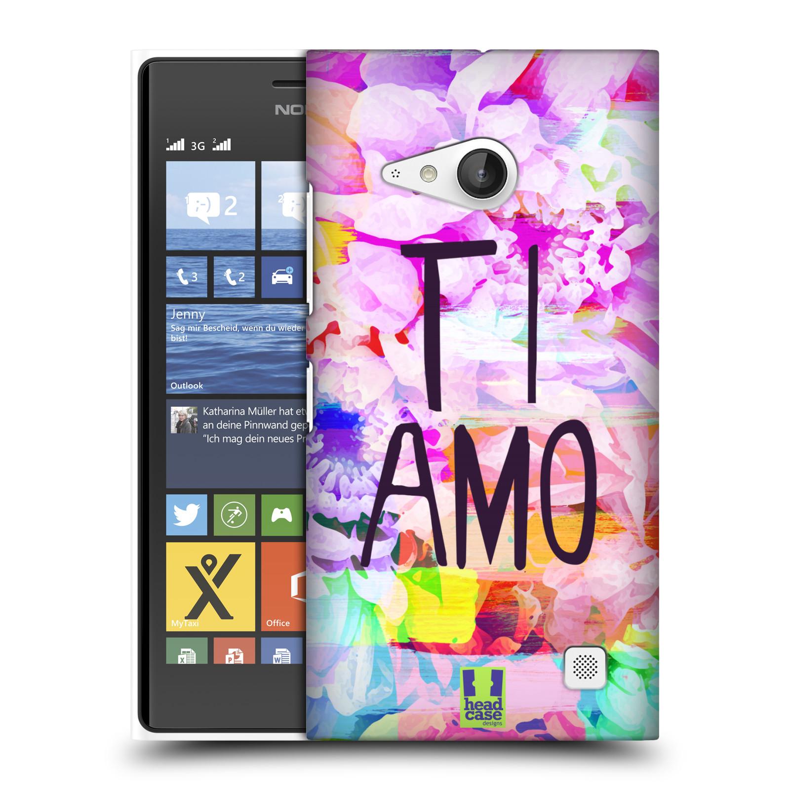 Plastové pouzdro na mobil Nokia Lumia 730 Dual SIM HEAD CASE Květy Ti Amo (Plastový kryt či obal na mobilní telefon Nokia Lumia 730 Dual SIM)