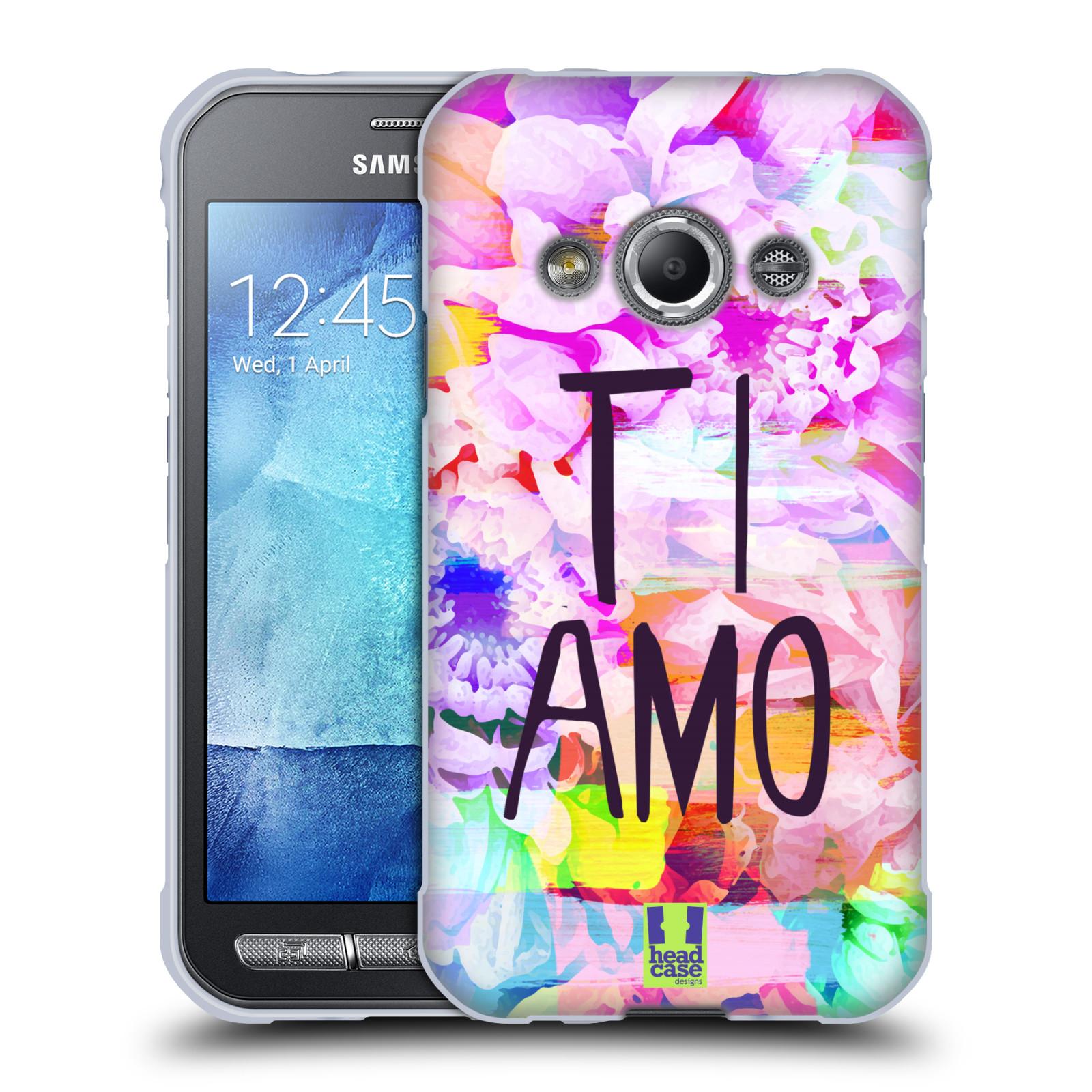 Silikonové pouzdro na mobil Samsung Galaxy Xcover 3 HEAD CASE Květy Ti Amo (Silikonový kryt či obal na mobilní telefon Samsung Galaxy Xcover 3 SM-G388F)