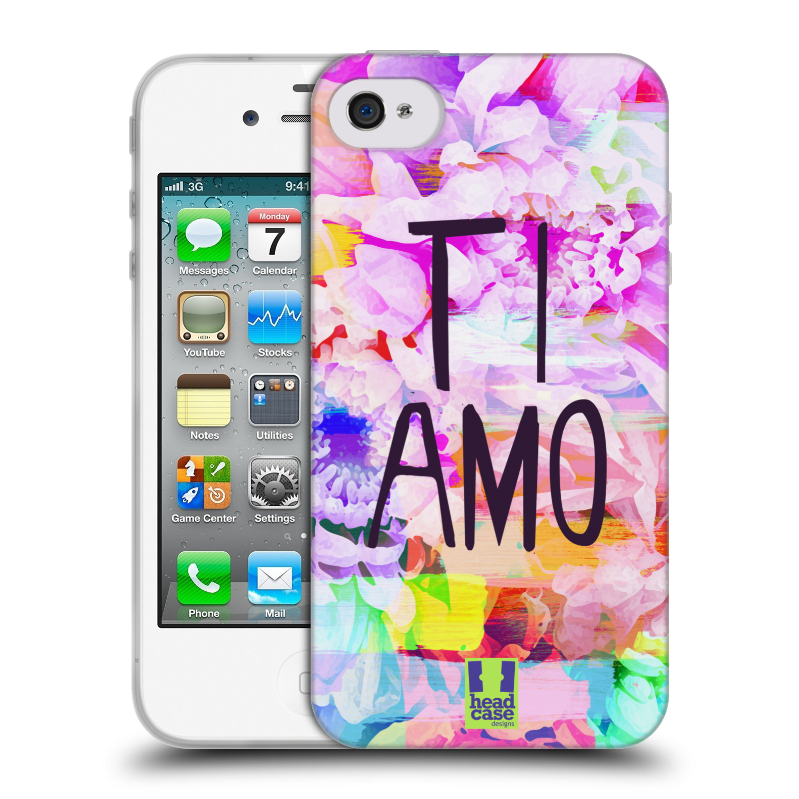 Silikonové pouzdro na mobil Apple iPhone 4 a 4S HEAD CASE Květy Ti Amo (Silikonový kryt či obal na mobilní telefon Apple iPhone 4 a 4S)