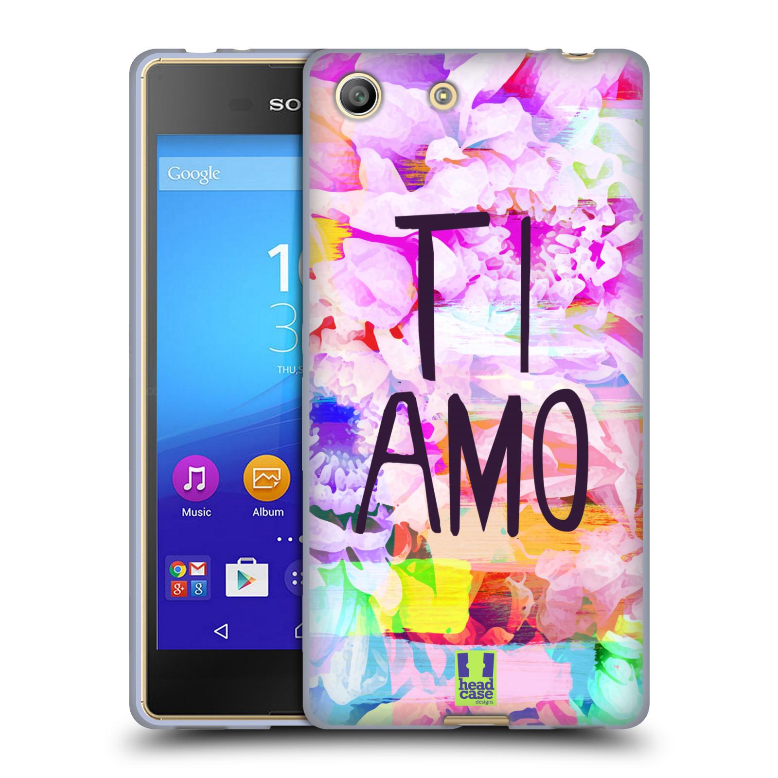 Silikonové pouzdro na mobil Sony Xperia M5 HEAD CASE Květy Ti Amo (Silikonový kryt či obal na mobilní telefon Sony Xperia M5 Dual SIM / Aqua)