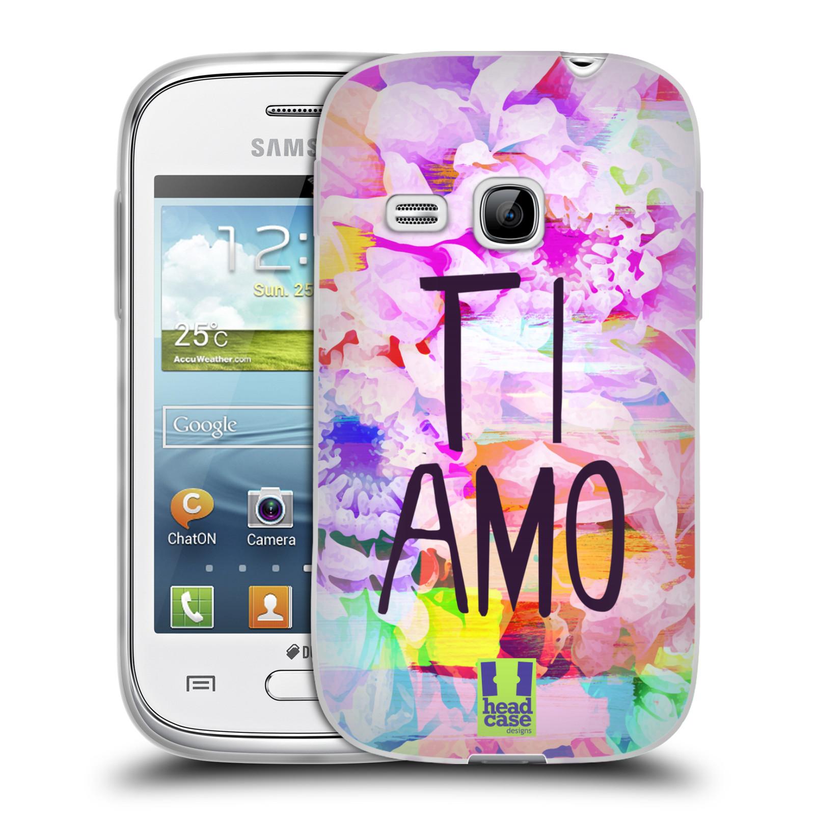 Silikonové pouzdro na mobil Samsung Galaxy Young HEAD CASE Květy Ti Amo (Silikonový kryt či obal na mobilní telefon Samsung Galaxy Young GT-S6310)