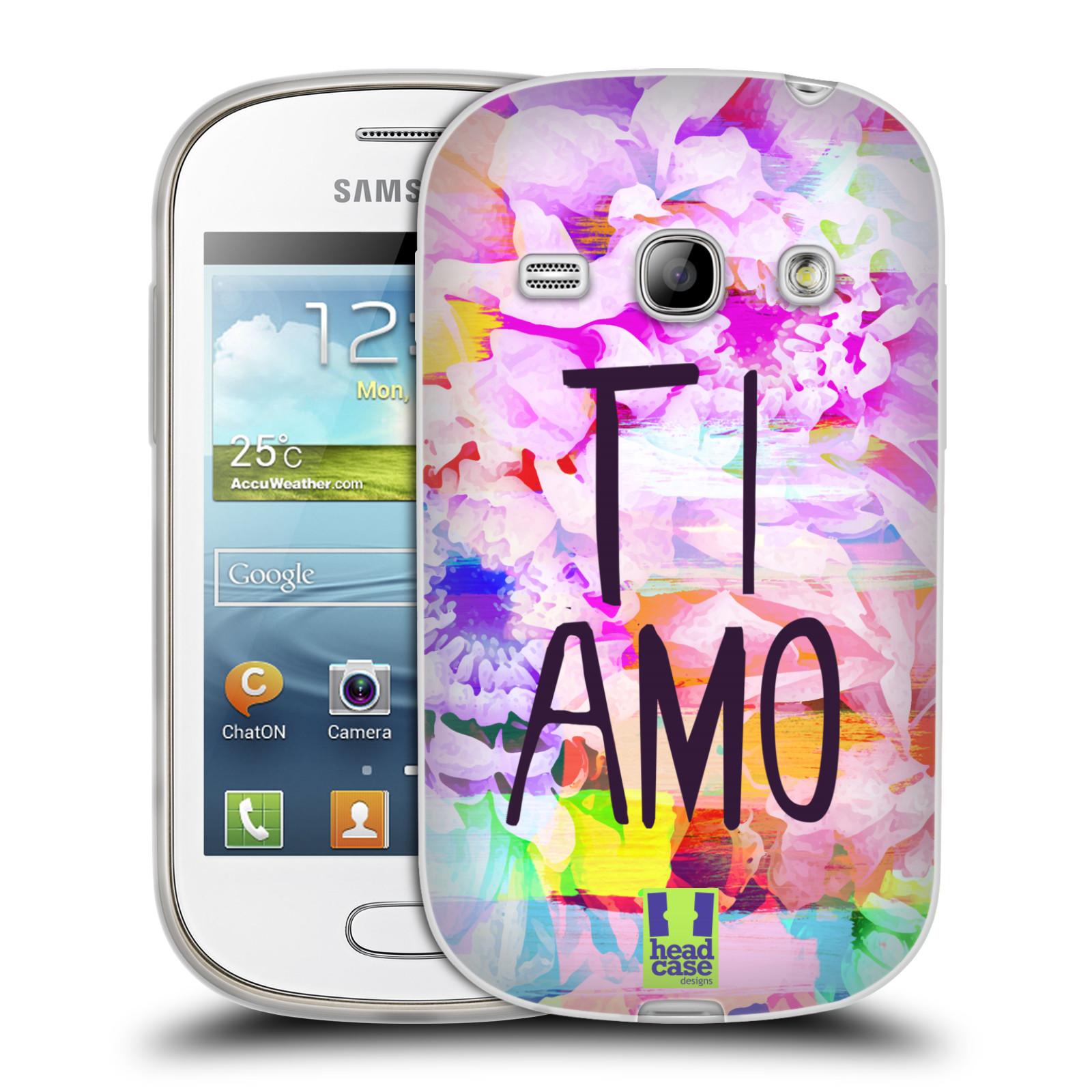 Silikonové pouzdro na mobil Samsung Galaxy Fame HEAD CASE Květy Ti Amo (Silikonový kryt či obal na mobilní telefon Samsung Galaxy Fame GT-S6810)