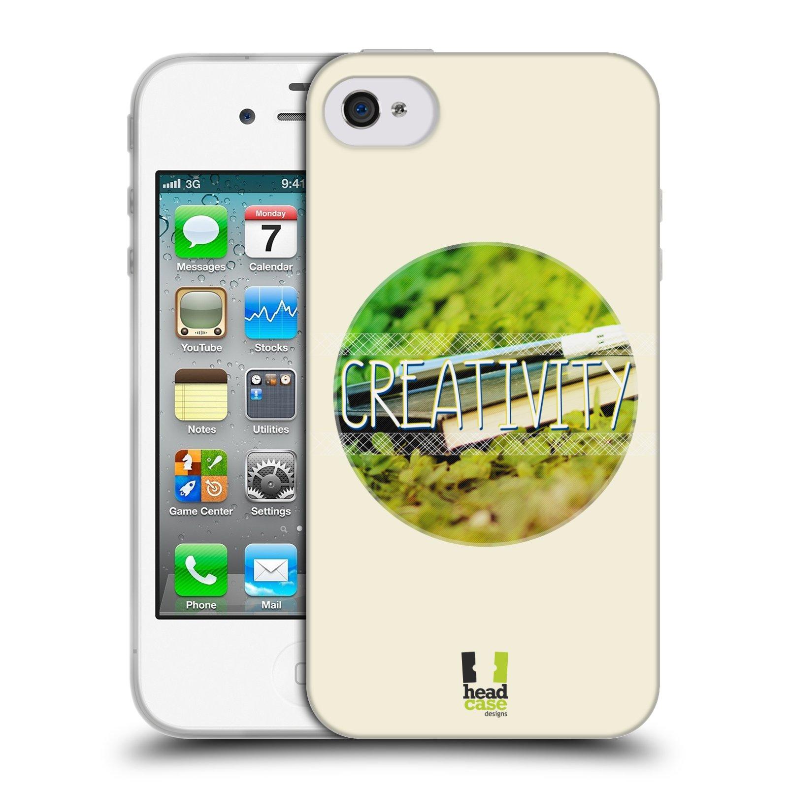 Silikonové pouzdro na mobil Apple iPhone 4 a 4S HEAD CASE INSPIRACE V KRUHU KREATIVITA (Silikonový kryt či obal na mobilní telefon Apple iPhone 4 a 4S)