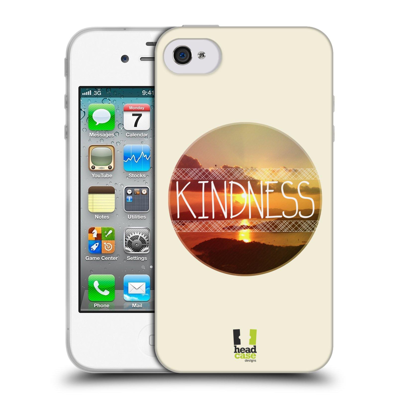 Silikonové pouzdro na mobil Apple iPhone 4 a 4S HEAD CASE INSPIRACE V KRUHU LASKAVOST (Silikonový kryt či obal na mobilní telefon Apple iPhone 4 a 4S)