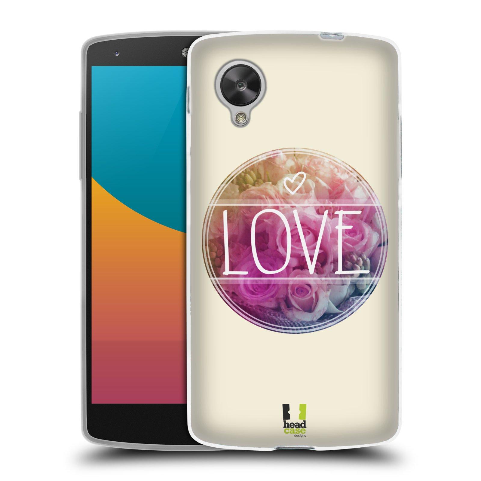 Silikonové pouzdro na mobil LG Nexus 5 HEAD CASE INSPIRACE V KRUHU LÁSKA (Silikonový kryt či obal na mobilní telefon LG Google Nexus 5 D821)