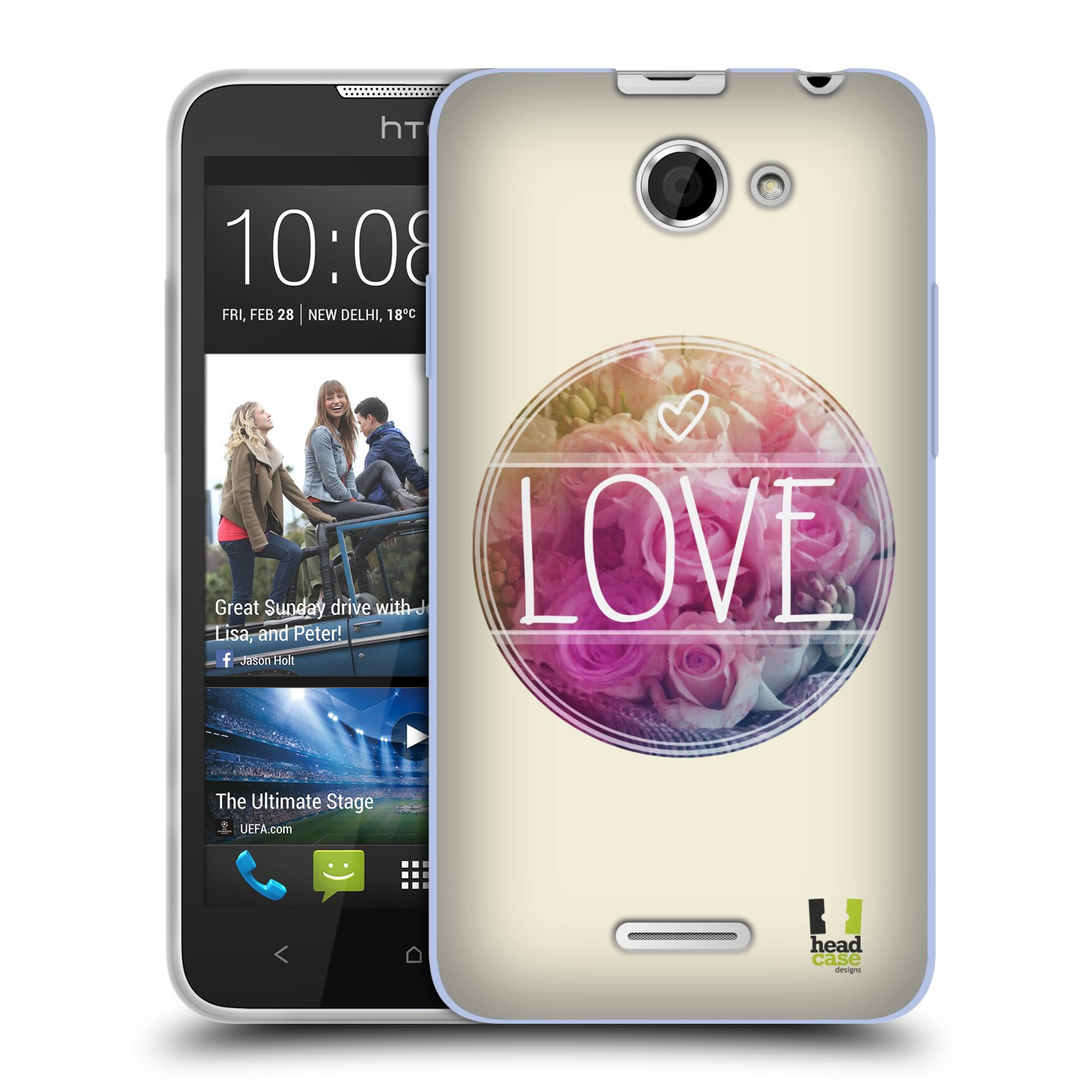 Silikonové pouzdro na mobil HTC Desire 516 HEAD CASE INSPIRACE V KRUHU LÁSKA (Silikonový kryt či obal na mobilní telefon HTC Desire 516 Dual SIM)