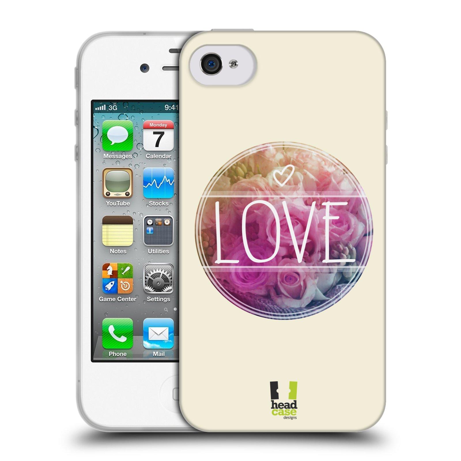 Silikonové pouzdro na mobil Apple iPhone 4 a 4S HEAD CASE INSPIRACE V KRUHU LÁSKA (Silikonový kryt či obal na mobilní telefon Apple iPhone 4 a 4S)