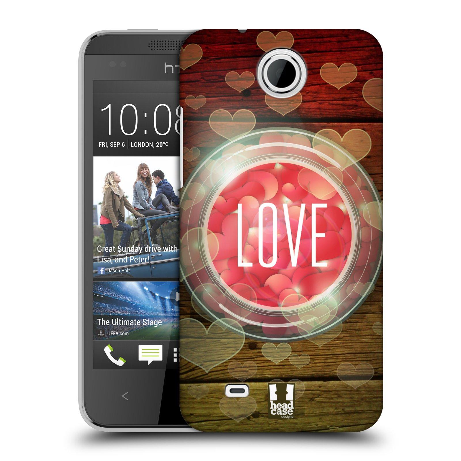 Plastové pouzdro na mobil HTC Desire 300 HEAD CASE SKLENICE LOVE (Kryt či obal na mobilní telefon HTC Desire 300)