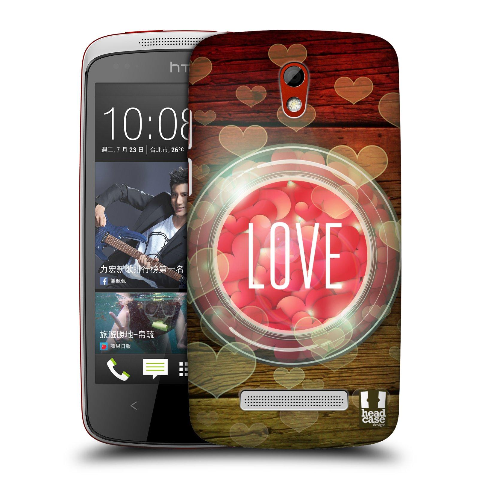 Plastové pouzdro na mobil HTC Desire 500 HEAD CASE SKLENICE LOVE (Kryt či obal na mobilní telefon HTC Desire 500)