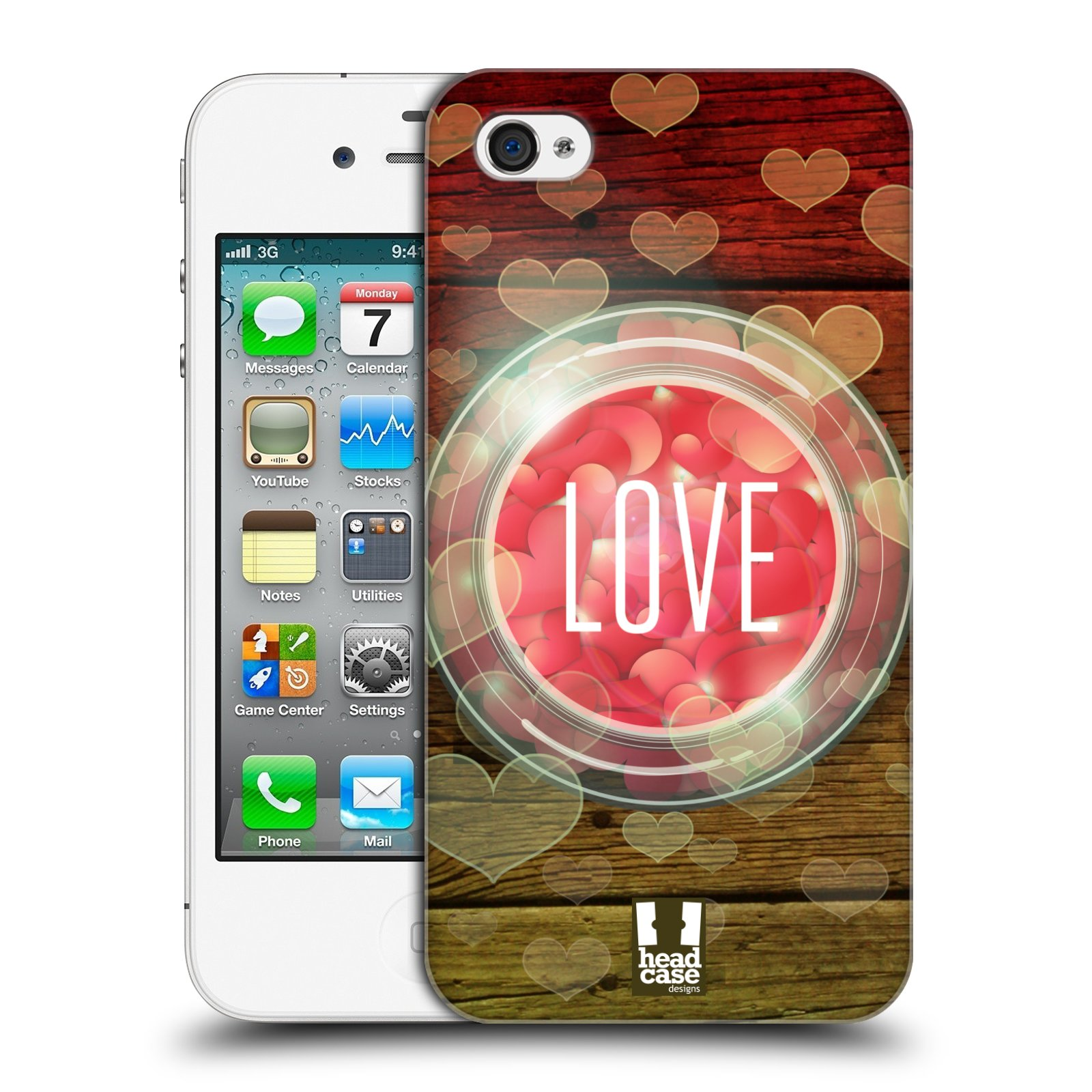 Plastové pouzdro na mobil Apple iPhone 4 a 4S HEAD CASE SKLENICE LOVE