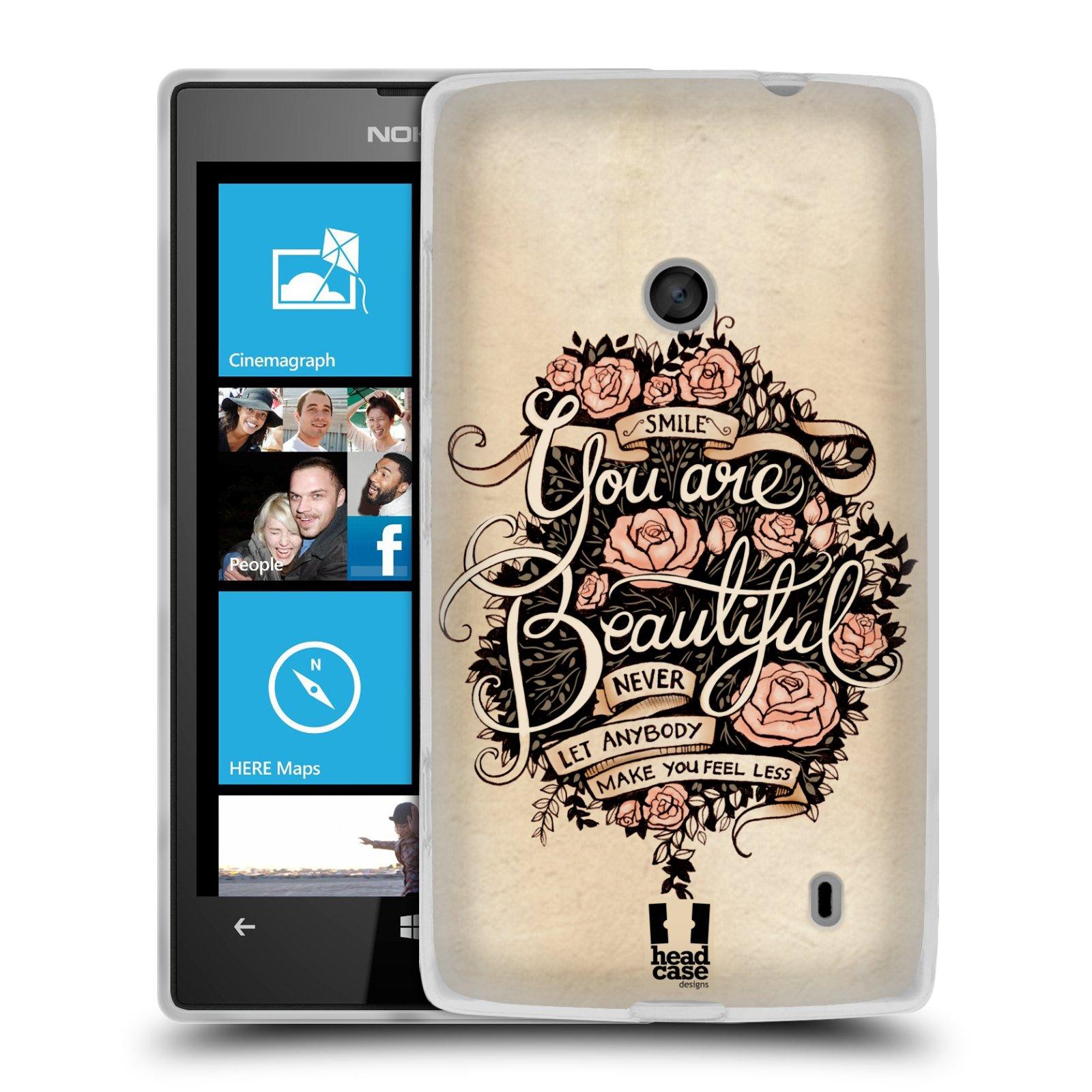 Silikonové pouzdro na mobil Nokia Lumia 520 HEAD CASE BEAUTIFUL (Silikonový Kryt či obal na mobilní telefon Nokia Lumia 520)