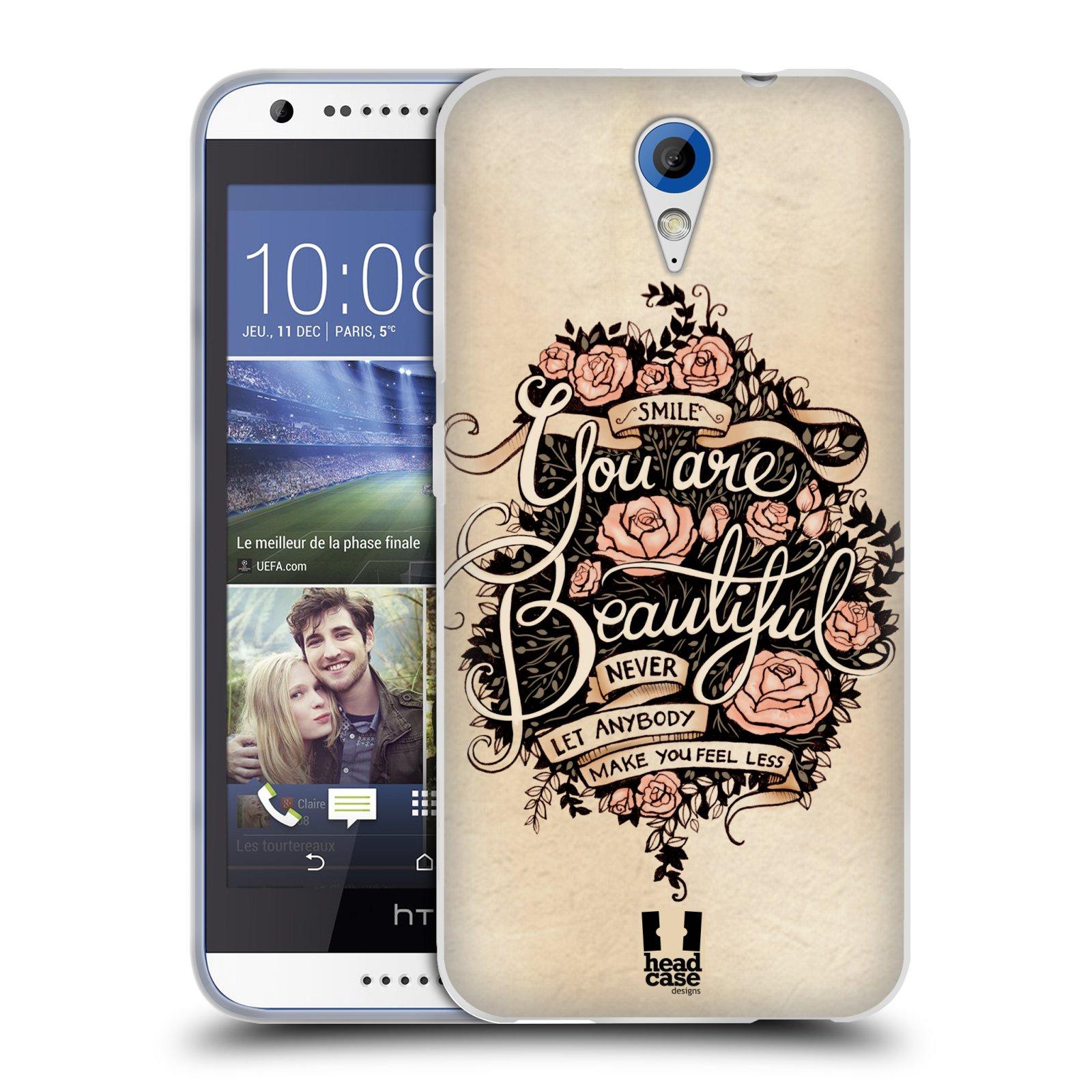 Silikonové pouzdro na mobil HTC Desire 620 HEAD CASE BEAUTIFUL (Silikonový kryt či obal na mobilní telefon HTC Desire 620)