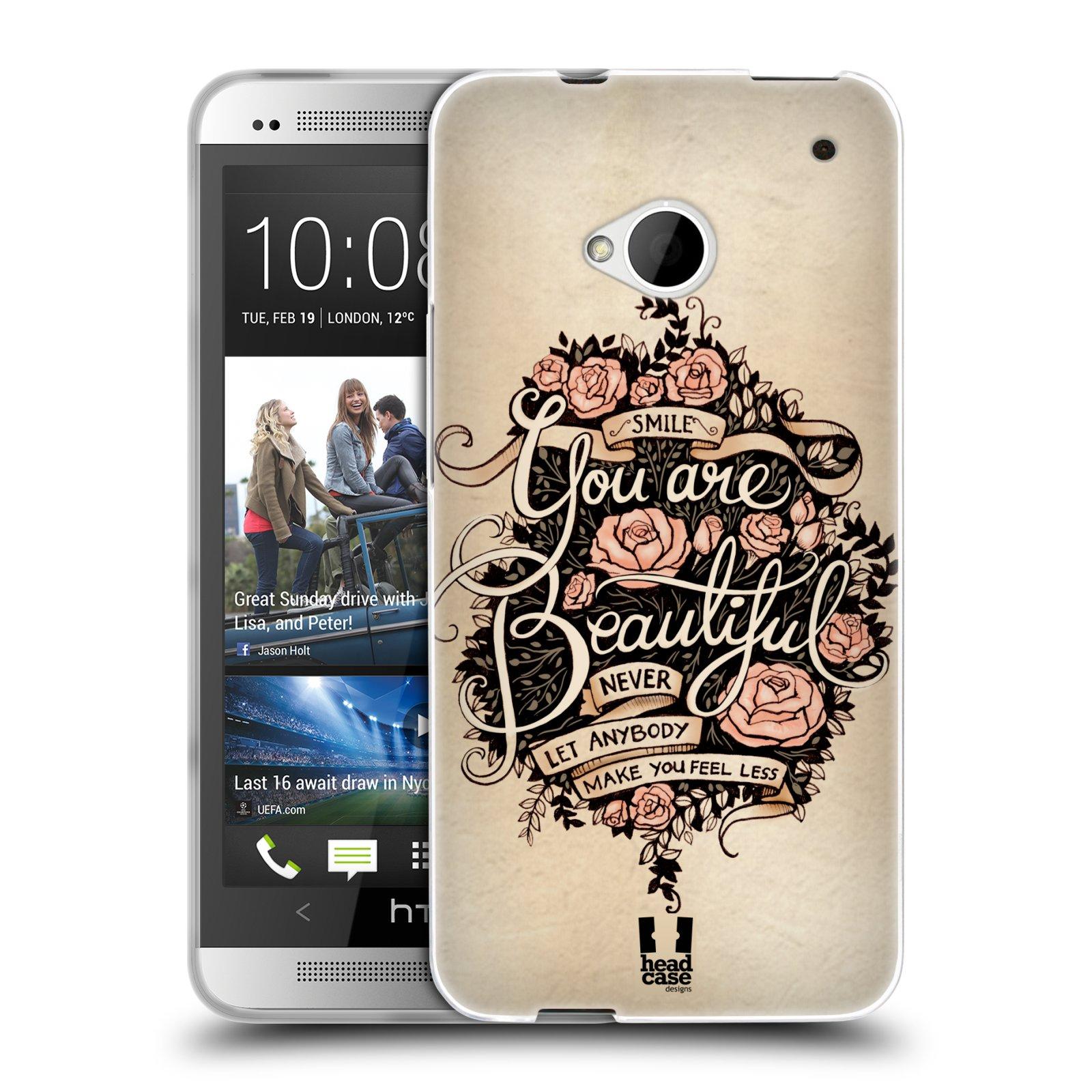 Silikonové pouzdro na mobil HTC ONE M7 HEAD CASE BEAUTIFUL (Silikonový kryt či obal na mobilní telefon HTC ONE M7)