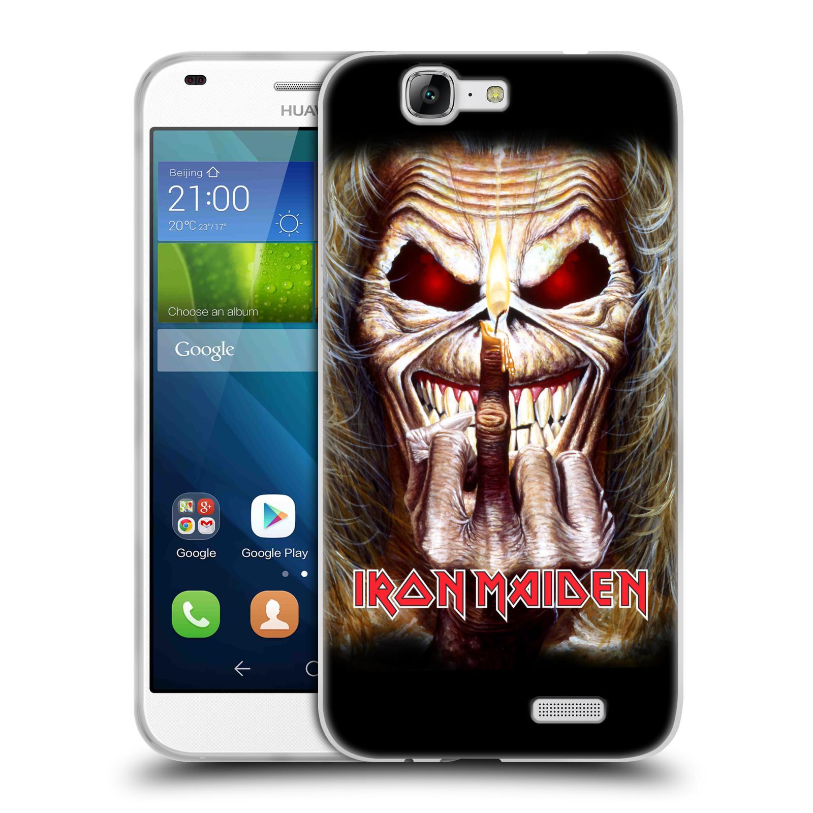 Silikonové pouzdro na mobil Huawei Ascend G7 HEAD CASE - Iron Maiden - Candle Finger (Silikonový kryt či obal na mobilní telefon s licencovaným motivem Iron Maiden Huawei Ascend G7)