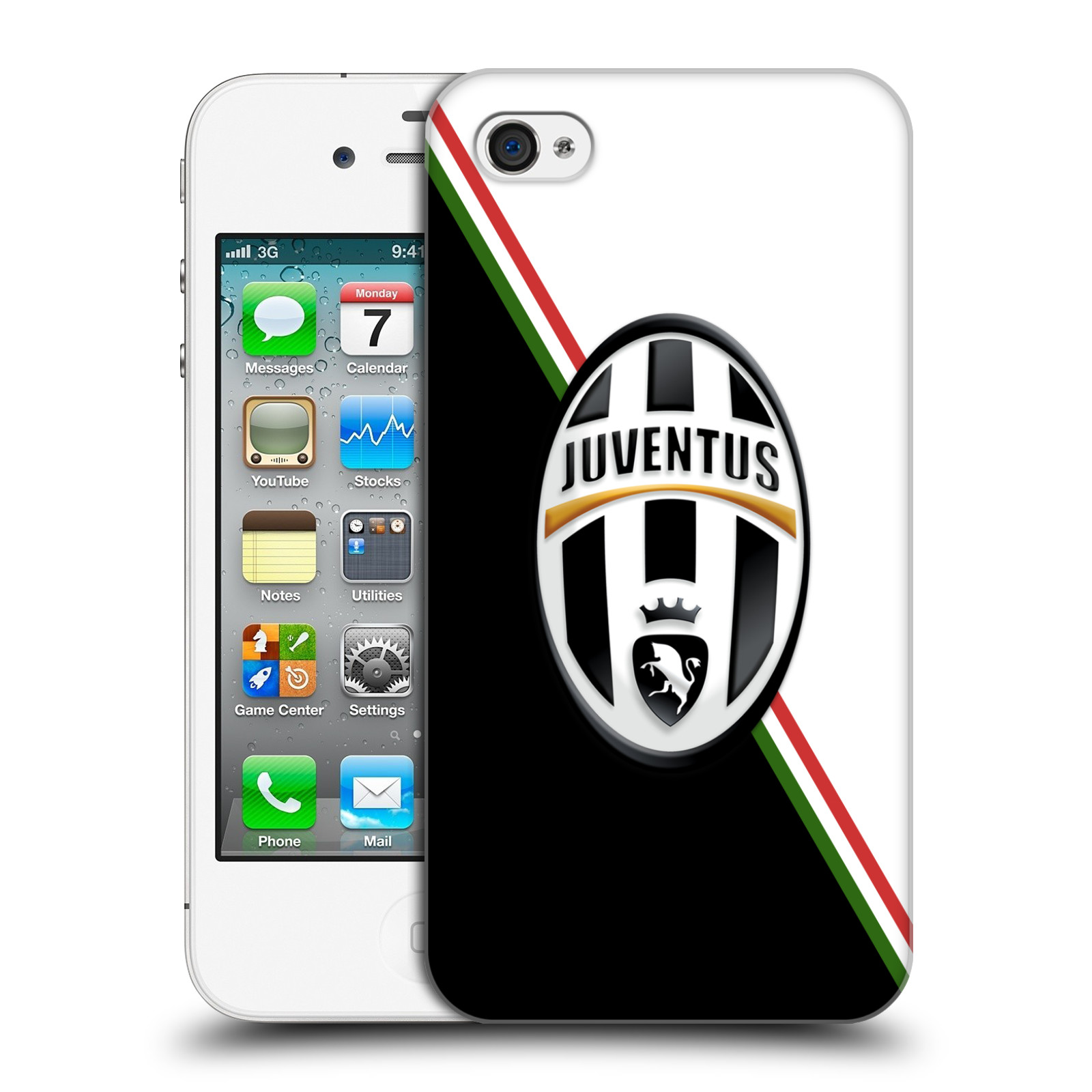 Plastové pouzdro na mobil Apple iPhone 4 a 4S HEAD CASE Juventus FC - Black and White (Plastový kryt či obal na mobilní telefon Juventus FC Official pro Apple iPhone 4 a 4S)
